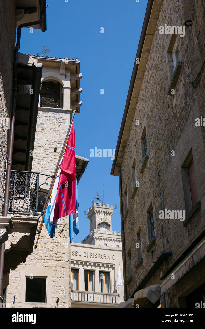 SAN MARINO, REPUBLIC OF SAN MARINO - 6 AUGUST 2018: View of the  the public palace in the Piazza della Libertà in San Marino. - Stock Image