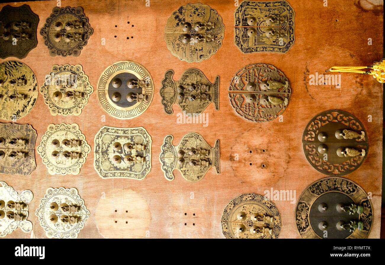 door ornaments made of brass Stock Photo