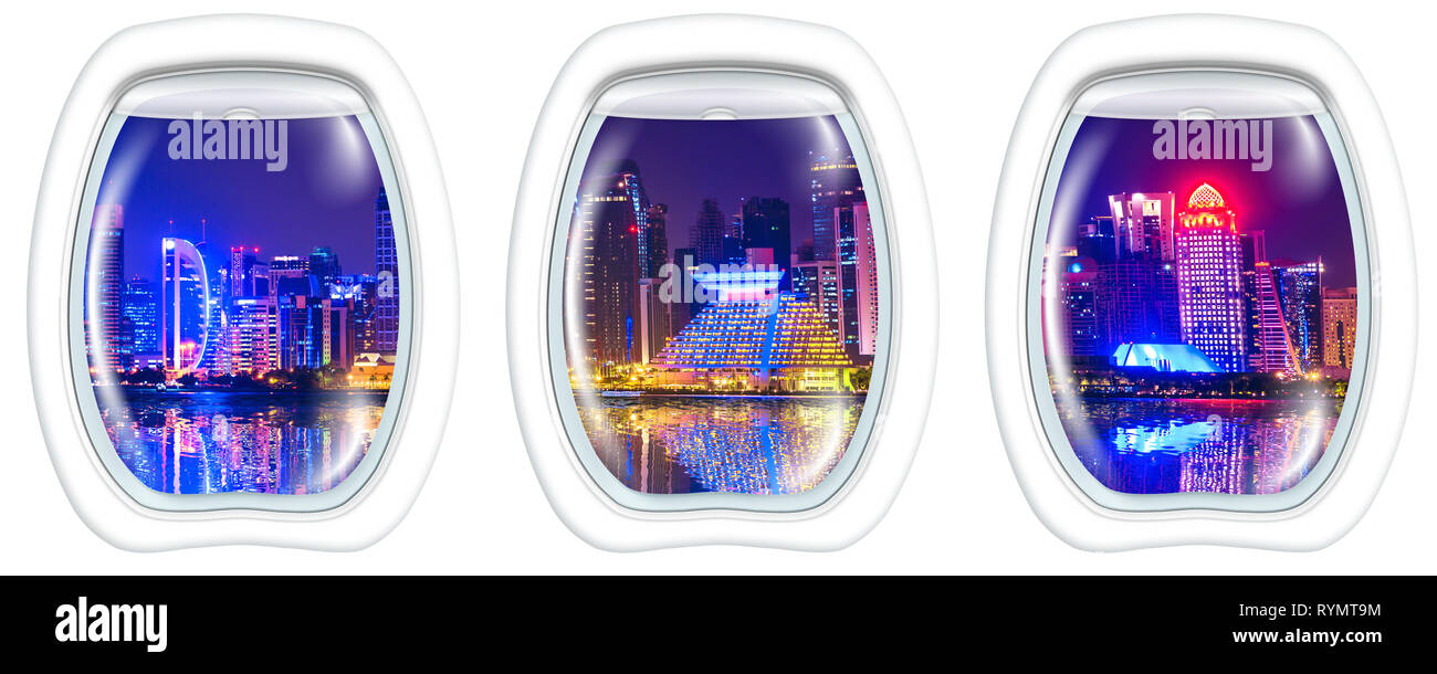 Three porthole frame windows on Skyline of Doha city of Qatar in the harbor at blue hour. Night scene waterfront in Doha bay with copy space for - Stock Image