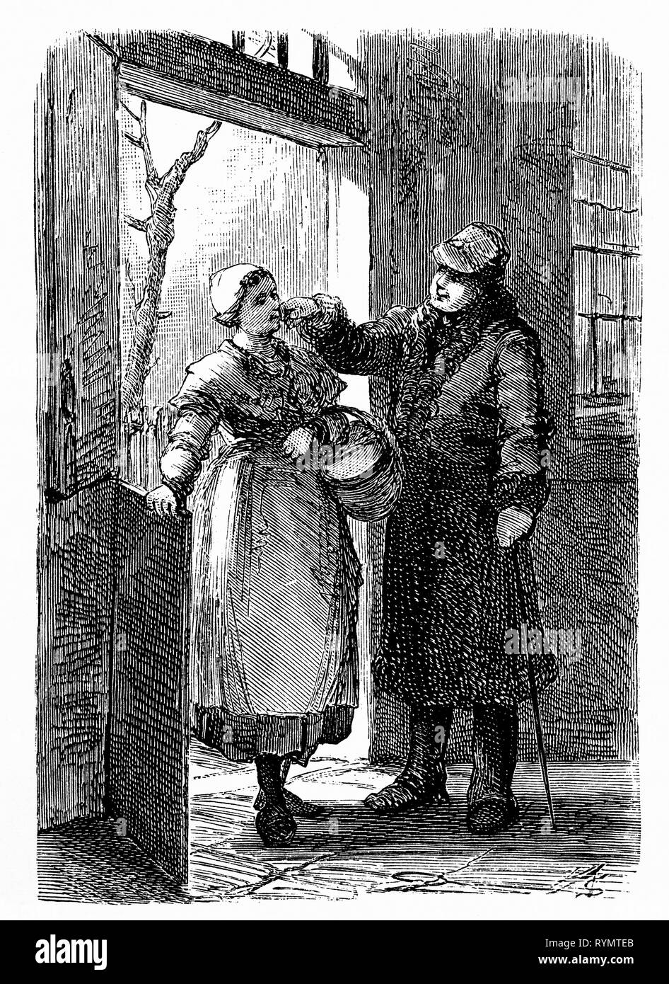 A farm owner visits his tenant famer, and strokes the farmer's daughter's cheek as he leaves. From the Camera Obscura, a 19th Century collection of Dutch humorous-realistic essays, stories and sketches in which Hildebrand, the author, takes an ironic look at the behavior of the 'well-to-do', finding  them bourgeois and without a good word for them. - Stock Image