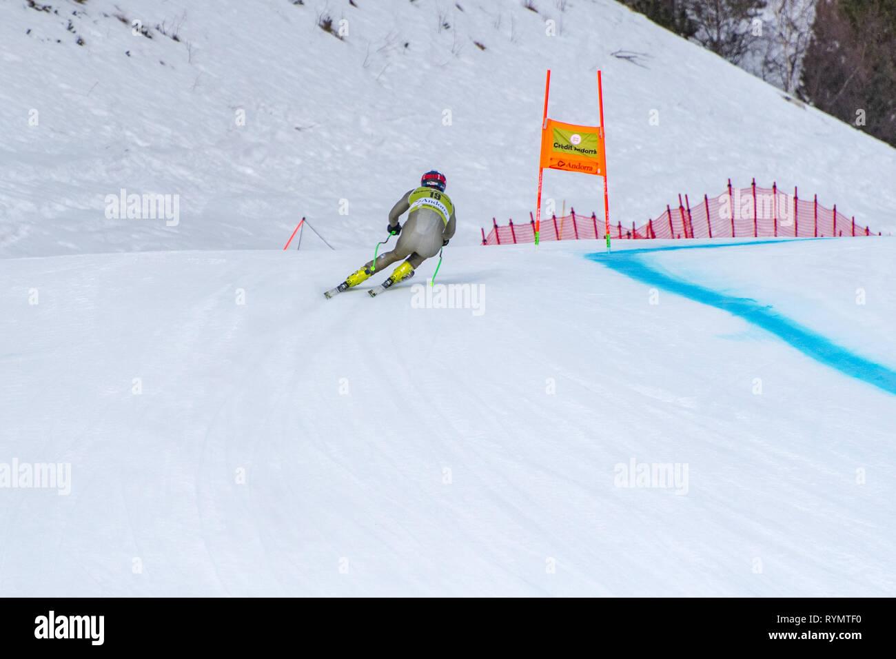 Matthias Mayer AUT  takes part in the PRUEBA run for the SKI WORLD FINALS DOWNHILL MEN  race of the FIS Alpine Ski World Cup Finals at Soldeu-El Tarte - Stock Image