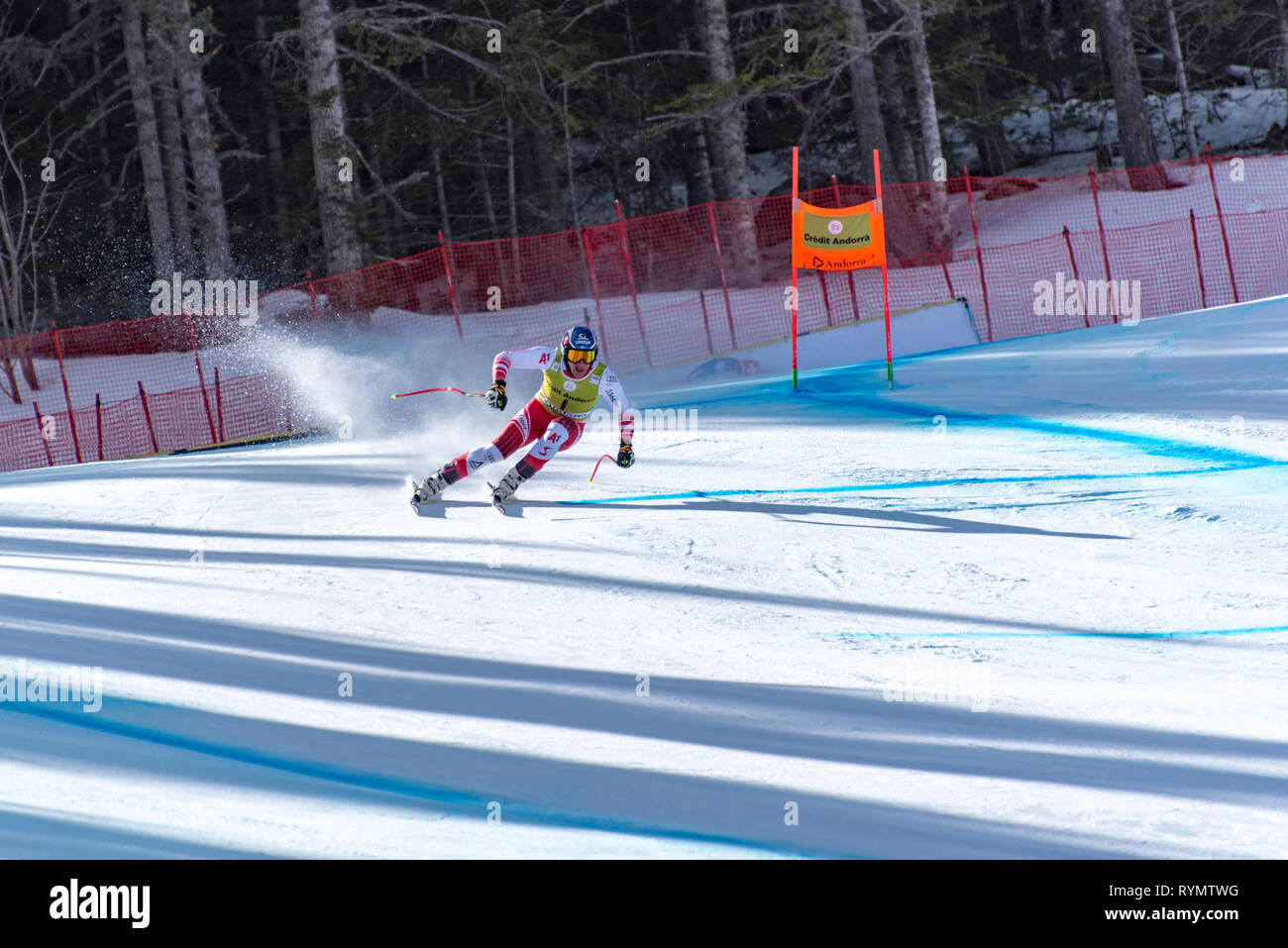Matthias Mayer AUT  takes part in the PRUEBA run for the SKI WORLD FINALS DOWNHILL MEN  race of the FIS Alpine Ski World Cup Finals at Soldeu-El Tarte - Stock Image