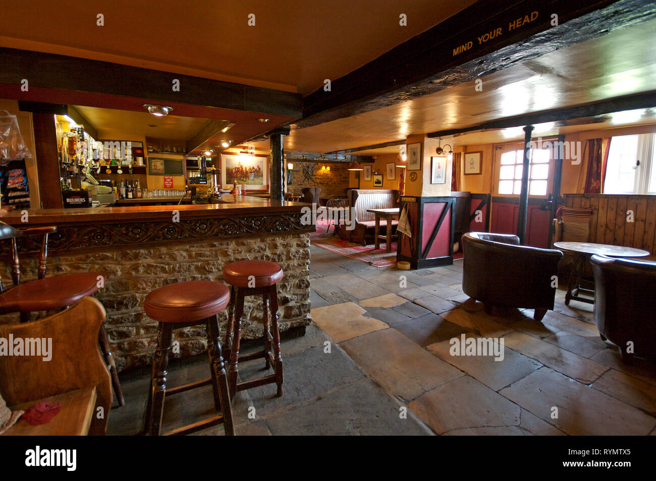 Interior of bar area at village pub. Horse and Jockey, Stanford in the vale. Oxfordshire - Stock Image