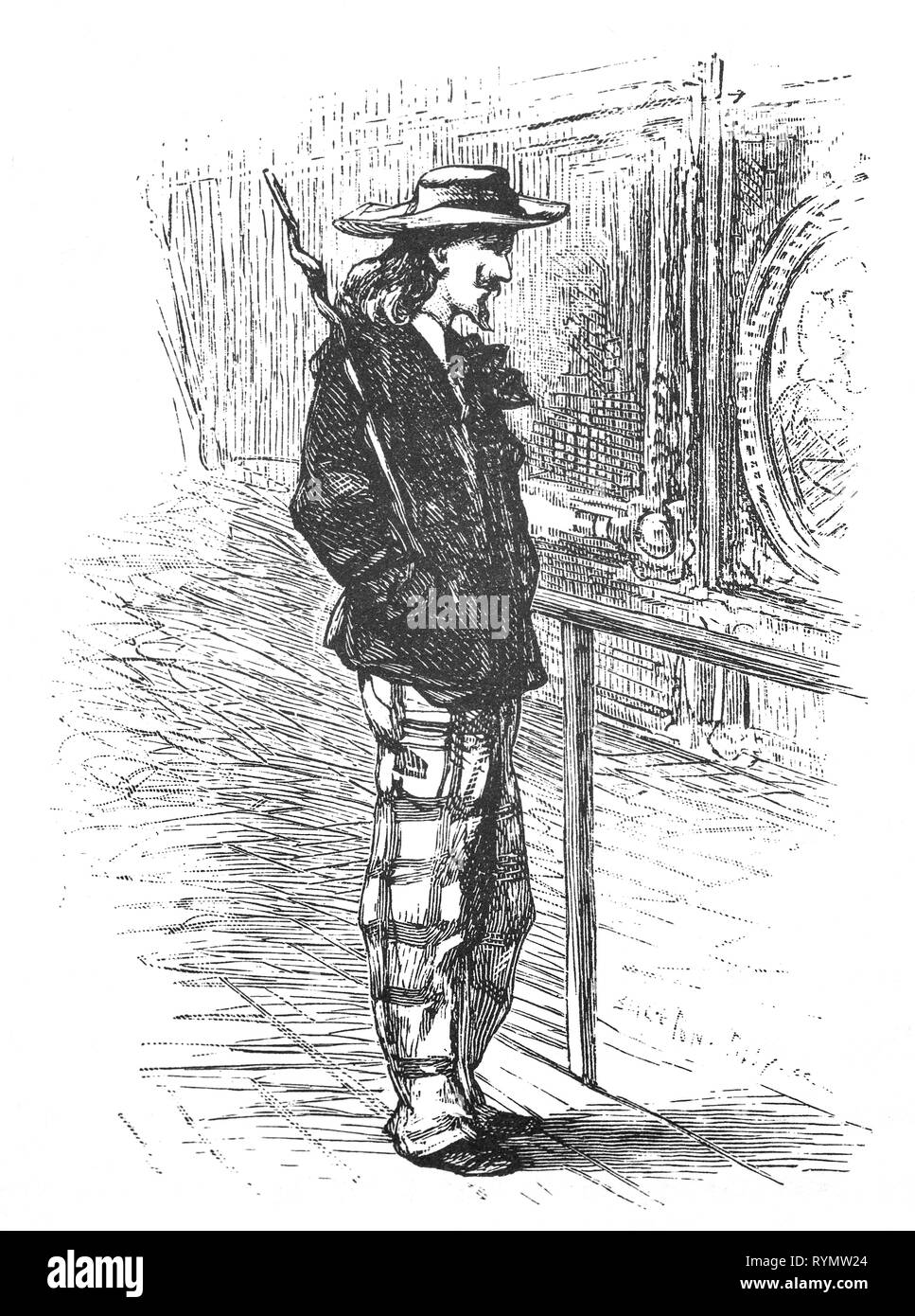 A young fashioable artist with broad-brimmed hat, wild hairs, big stick,  short jacket and checked trousers. From the Camera Obscura, a 19th Century collection of Dutch humorous-realistic essays, stories and sketches in which Hildebrand, the author, takes an ironic look at the behavior of the 'well-to-do', finding  them bourgeois and without a good word for them. - Stock Image