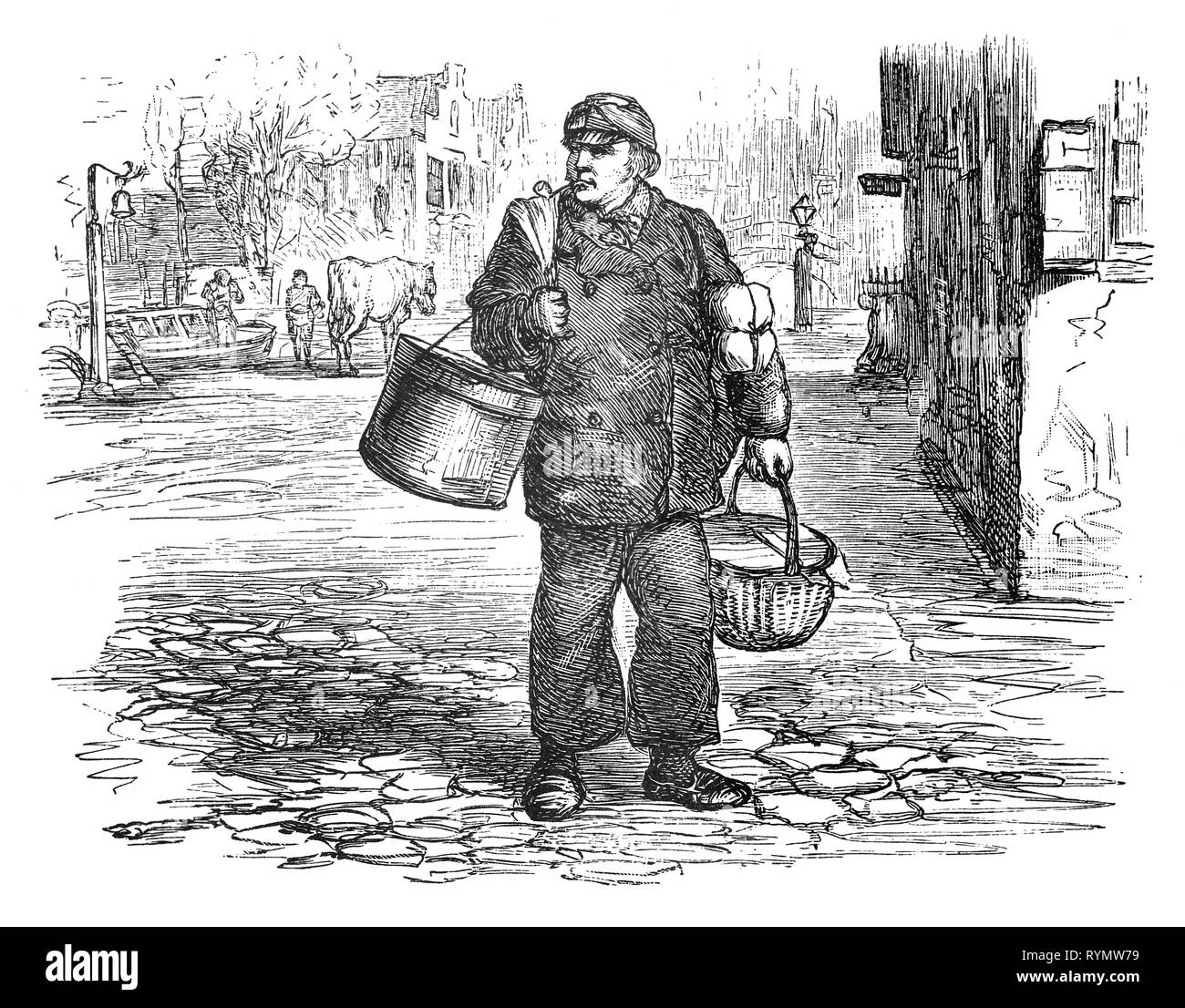 The skipper of a tow barge, with lunch in hand, makes his way to the river moorings. From the Camera Obscura, a 19th Century collection of Dutch humorous-realistic essays, stories and sketches in which Hildebrand, the author, takes an ironic look at the behavior of the 'well-to-do', finding  them bourgeois and without a good word for them. Stock Photo
