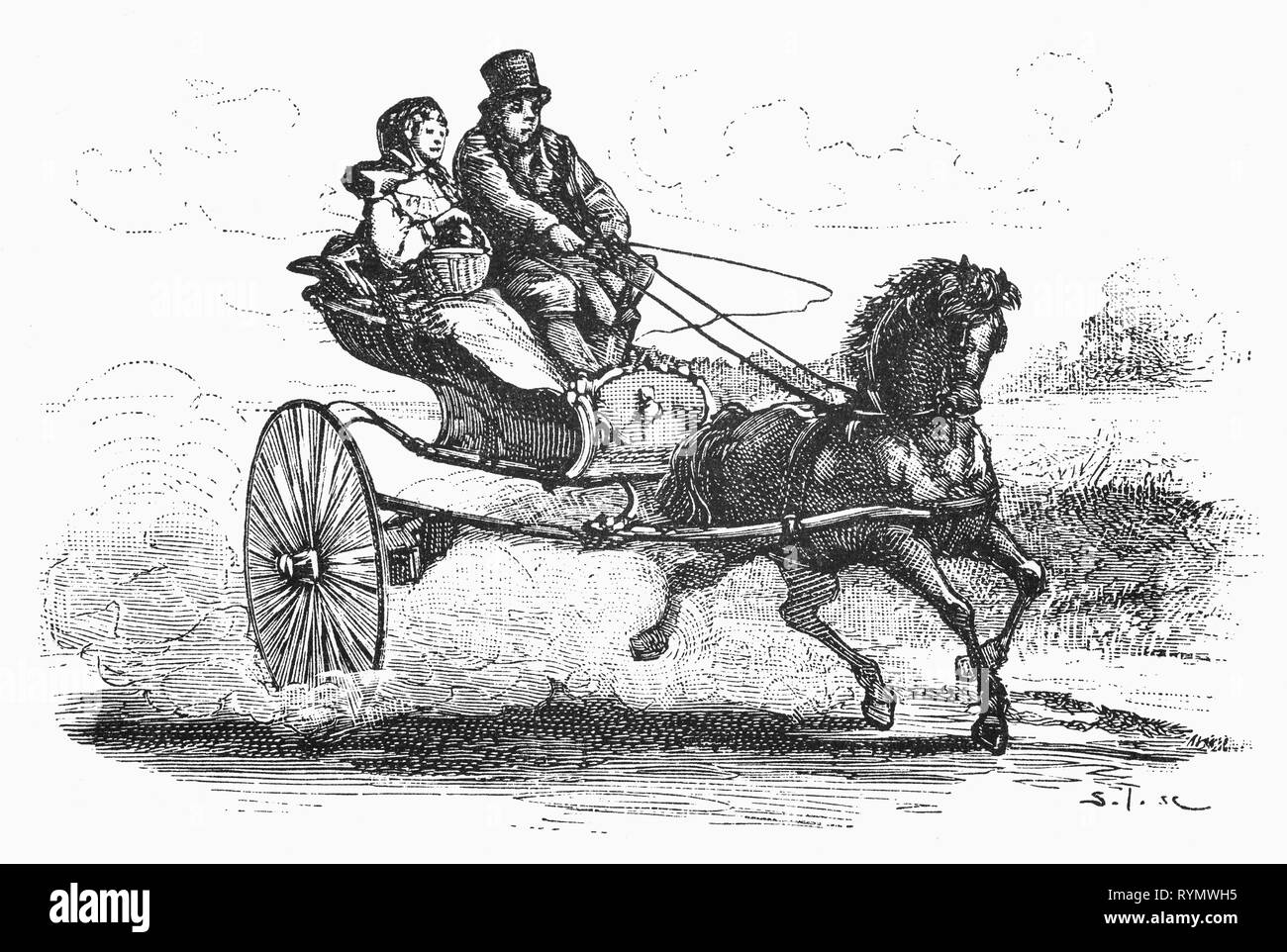Riding to market in their pony and trap is the Noordholland  farmer and his wife.From the Camera Obscura, a 19th Century collection of Dutch humorous-realistic essays, stories and sketches in which Hildebrand, the author, takes an ironic look at the behavior of the 'well-to-do', finding  them bourgeois and without a good word for them. - Stock Image