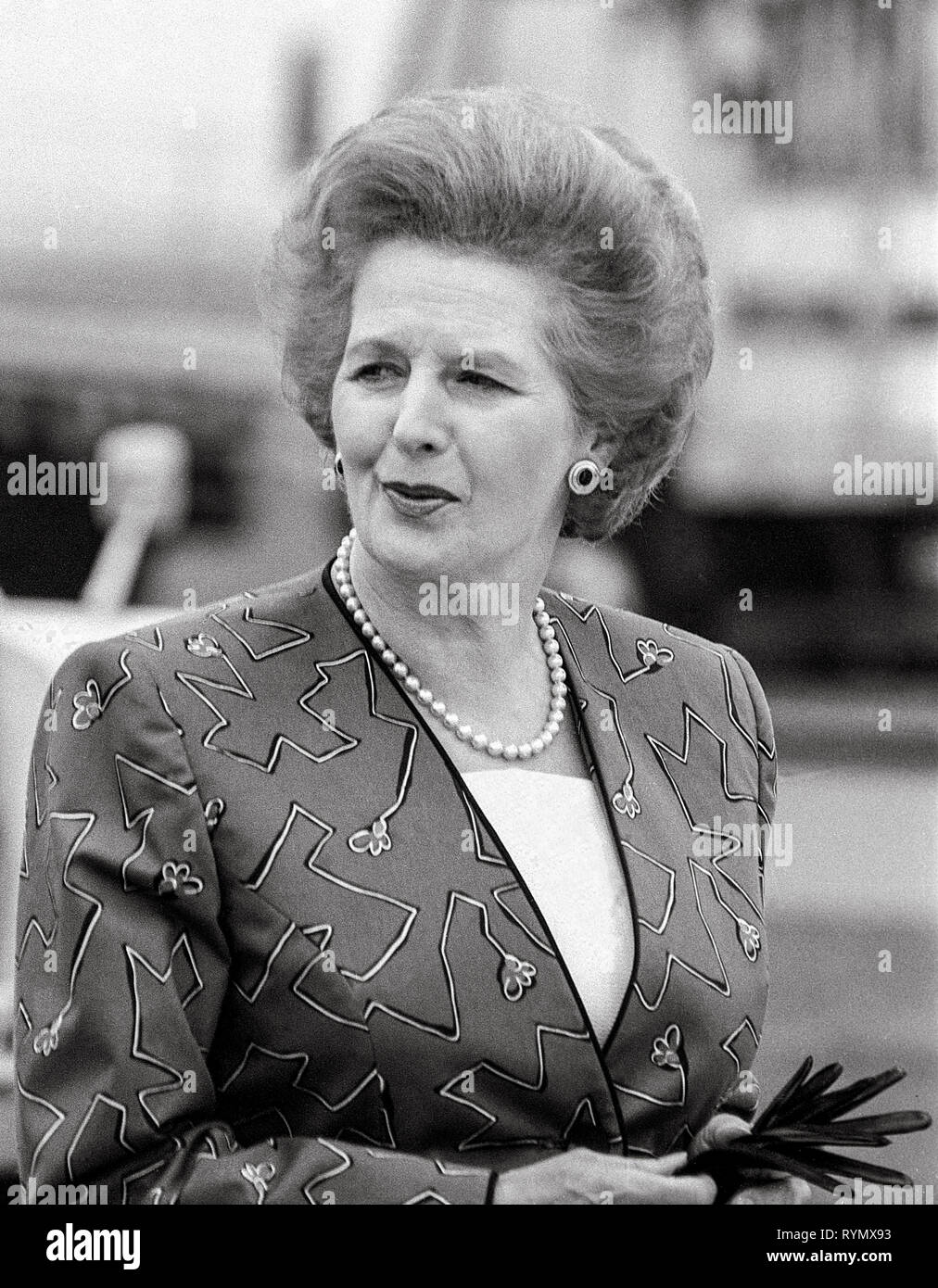 Prime minister Margaret Thatcher leaving Heathrow Airport in 1988. - Stock Image