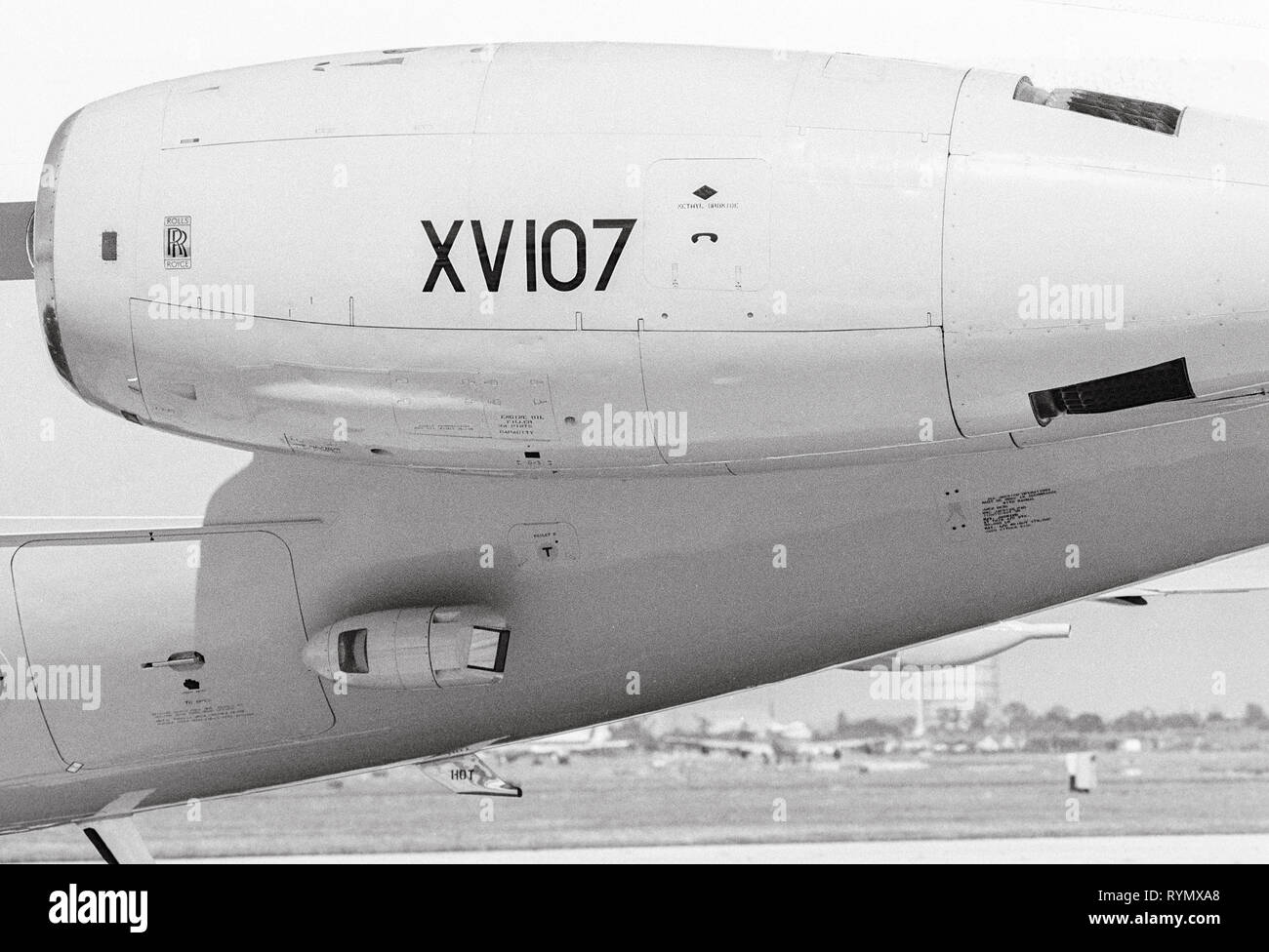 An RAF VC 10 aircraft being operated to transport the then Prime minister Margaret Thatcher on official visits. The aircraft is fitted an anti heat seeking missile pod beneath the engine. Stock Photo