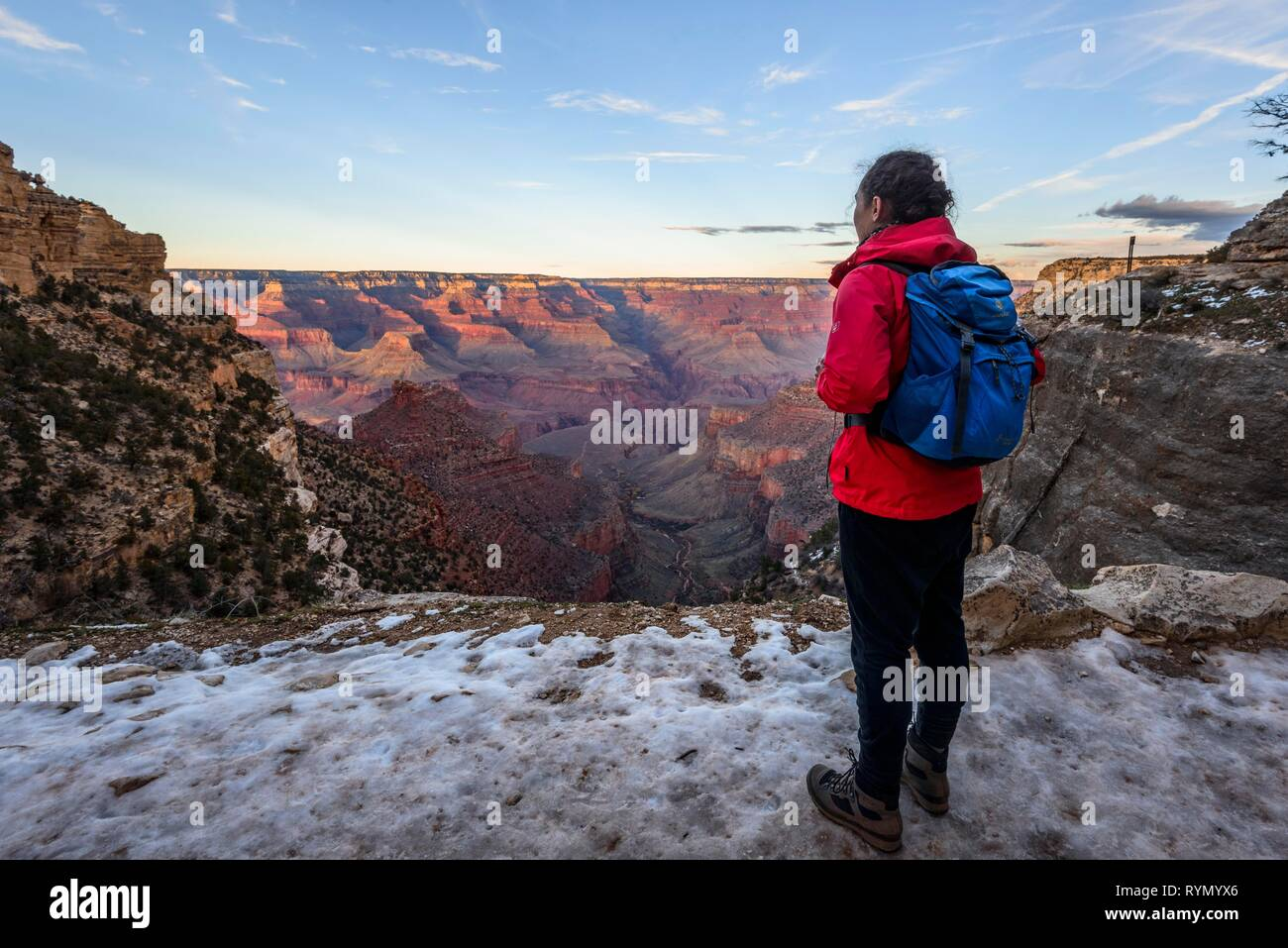 Young woman looking into the gorge of the Grand Canyon, view from the Bright Angel Trail, eroded rock landscape, South Rim - Stock Image