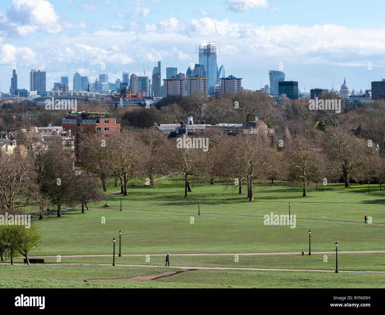 March 2019: London City skyline taken from the top of Primrose Hill shows the dominance of a new building, 22 Bishopsgate in the 'square mile' - Stock Image