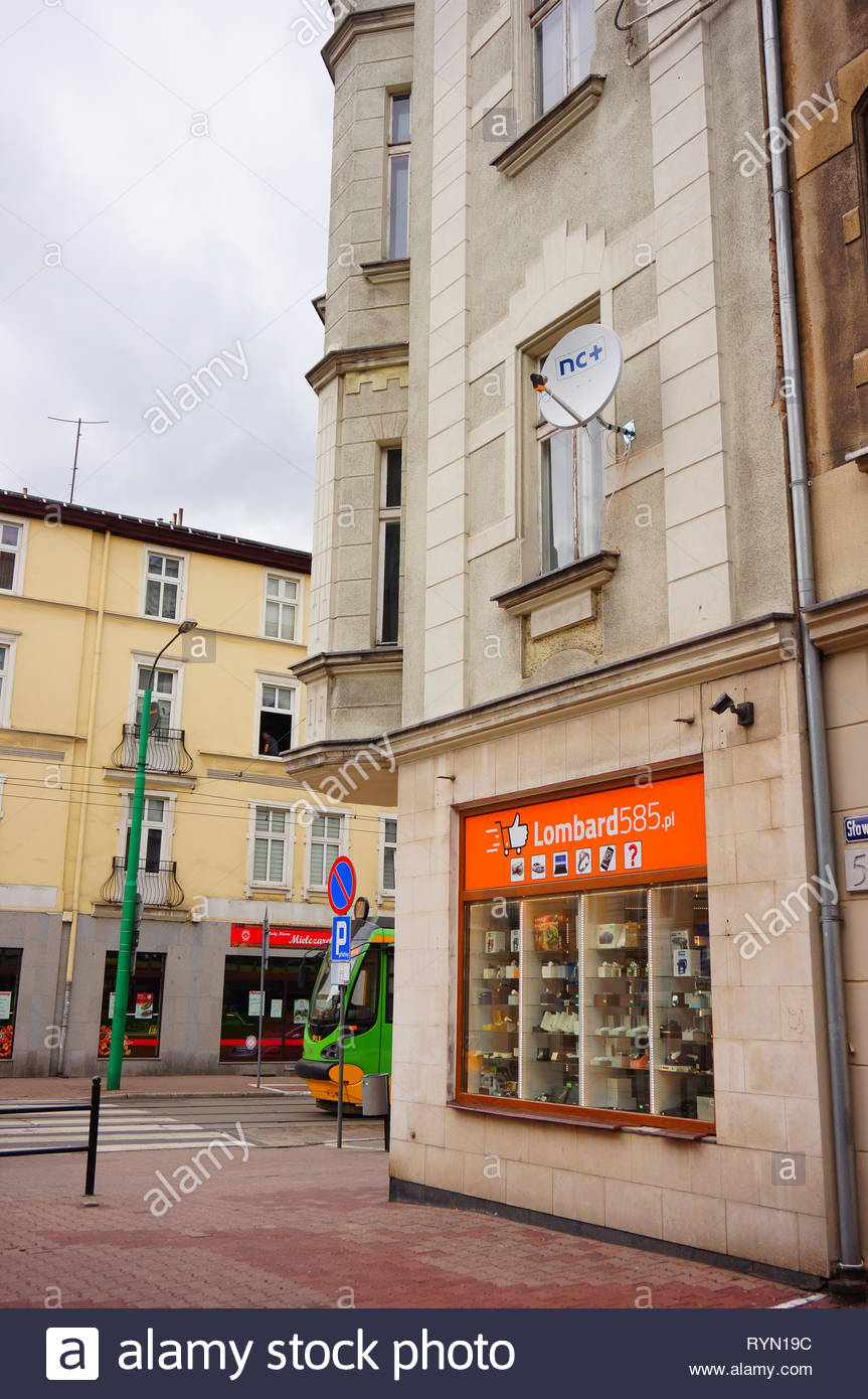Poznan, Poland - March 8, 2019: Lombard585 pawnshop in a old building on the Slowackiego street in the city center. Stock Photo