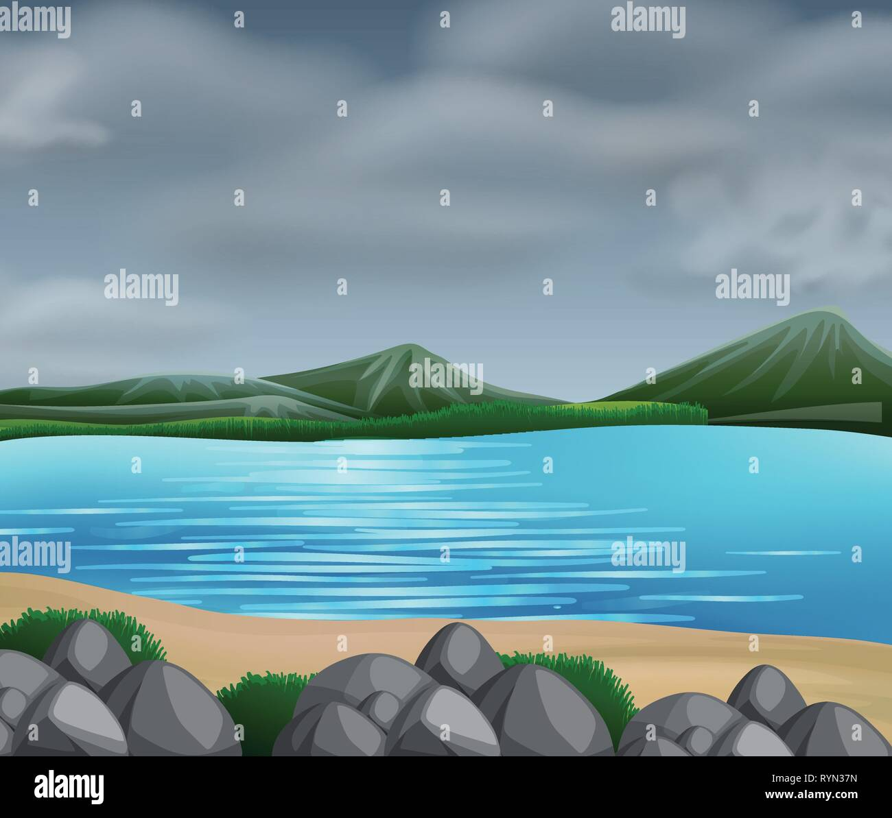 Cloudy by the Seaside illustration - Stock Vector