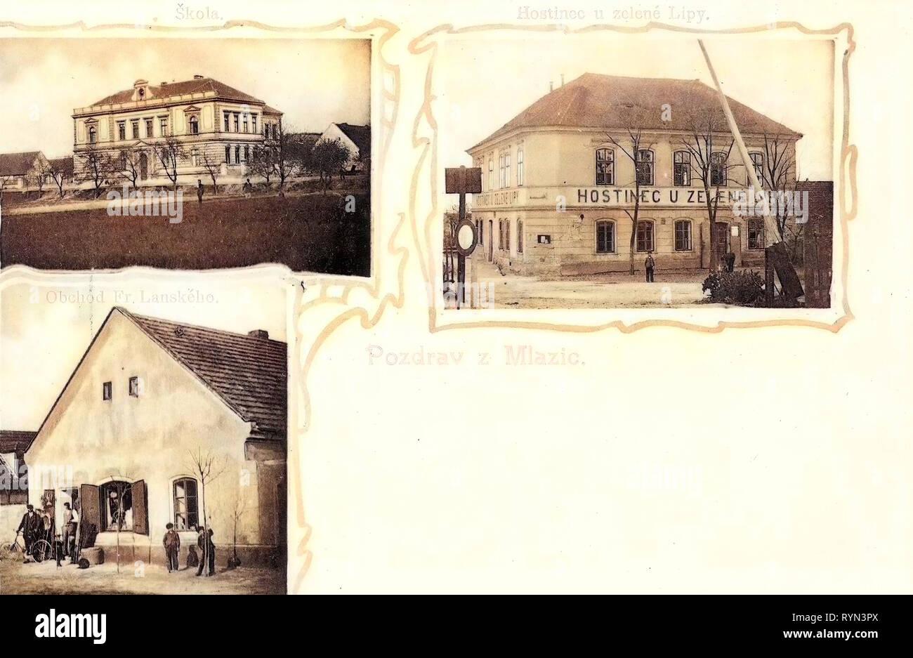 Multiview postcards, Schools in Mělník, Restaurants in Mělník, Shops in Mělník, 1904 postcards, Mlazic, 1904, verschiedene Bauwerke - Stock Image