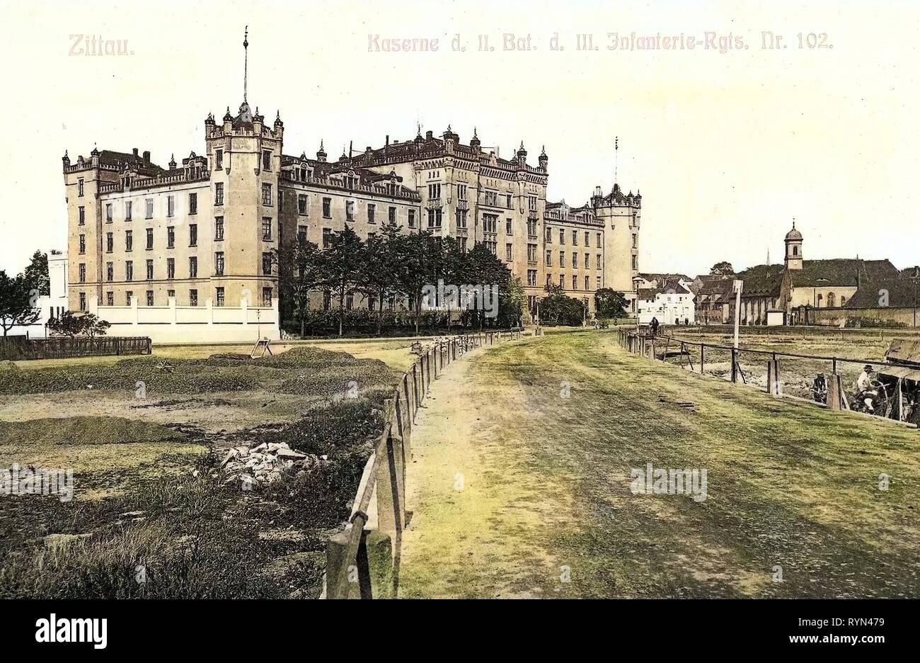 Military facilities of Germany, Infanterie-Regiment König Ludwig III. von Bayern (3. Königlich Sächsisches) Nr. 102, 1904, Landkreis Görlitz, Zittau, Kaserne des II. Bataillon des III. Infanterie, Regiment Nr. 102 Stock Photo