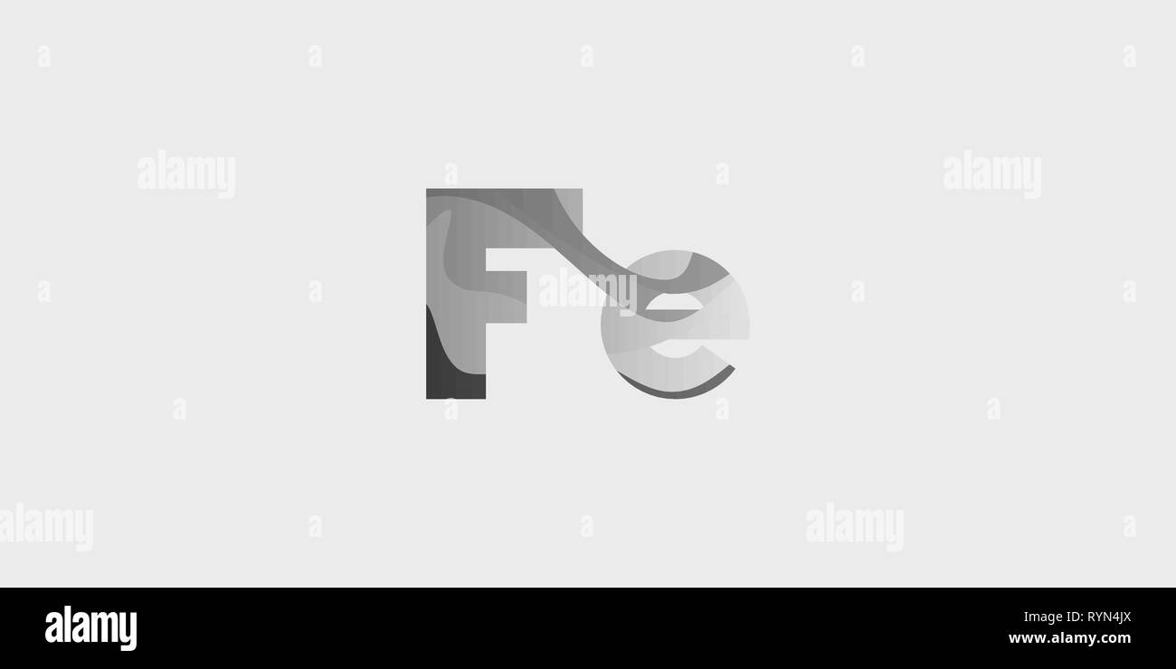 Fe ferrum modern chemical element, great design for any purposes. Science research concept. Vector illustration with chemical element for concept desi - Stock Image
