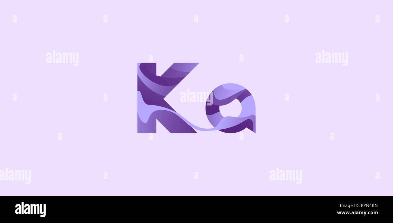Ka Kalium Potassium modern chemical element, great design for any purposes. Science research concept. Vector illustration with chemical element for co - Stock Image