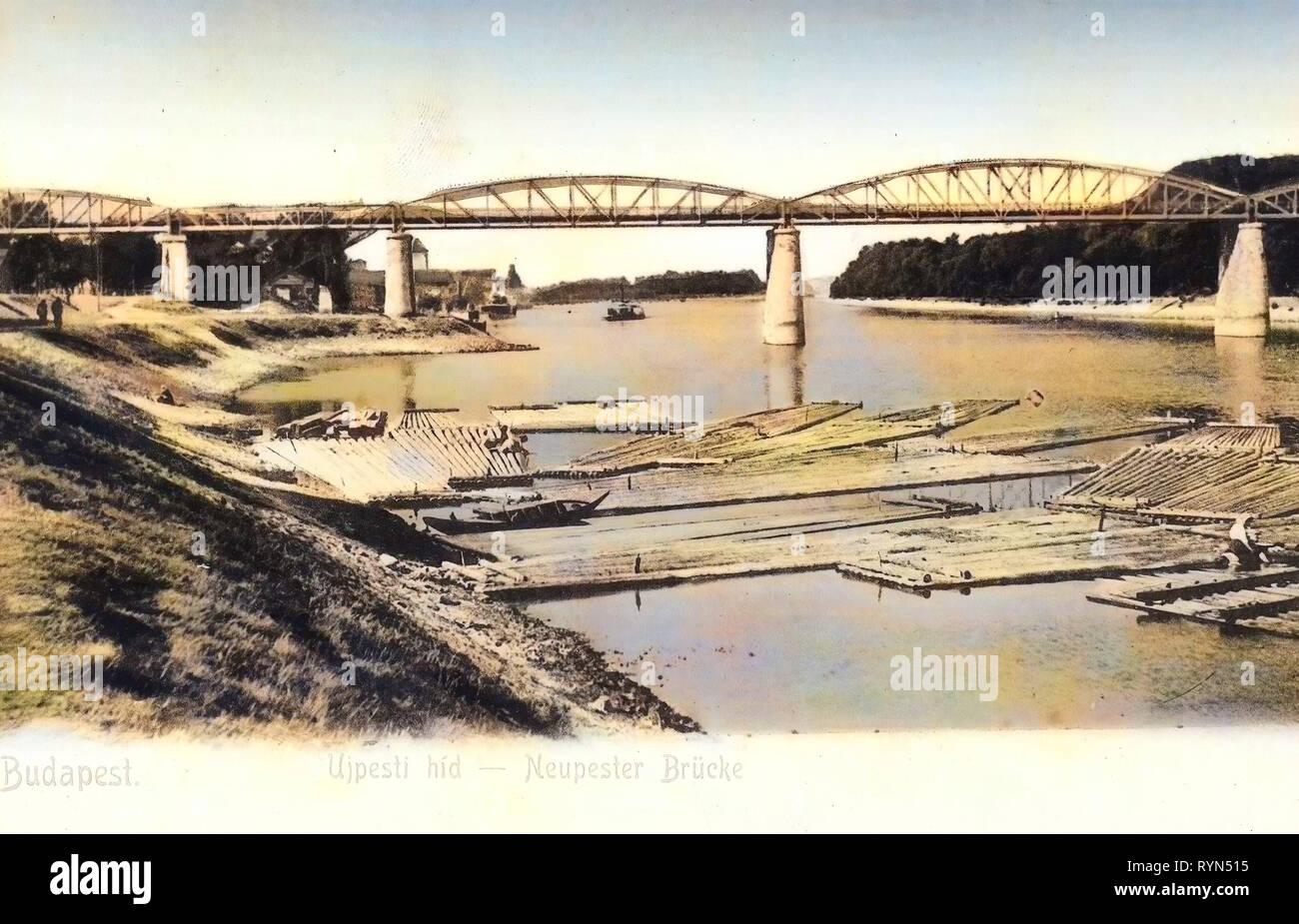 Újpesti vasúti híd, Logging, 1904, Budapest, Neupester Brücke mit Holzflößen, Hungary - Stock Image