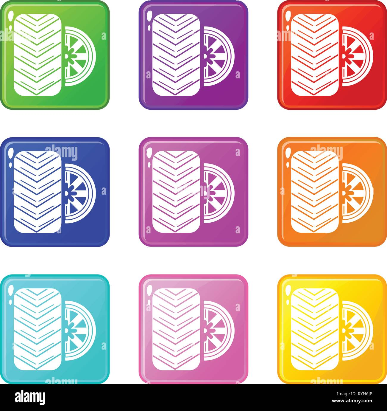 Tire icons set 9 color collection - Stock Vector