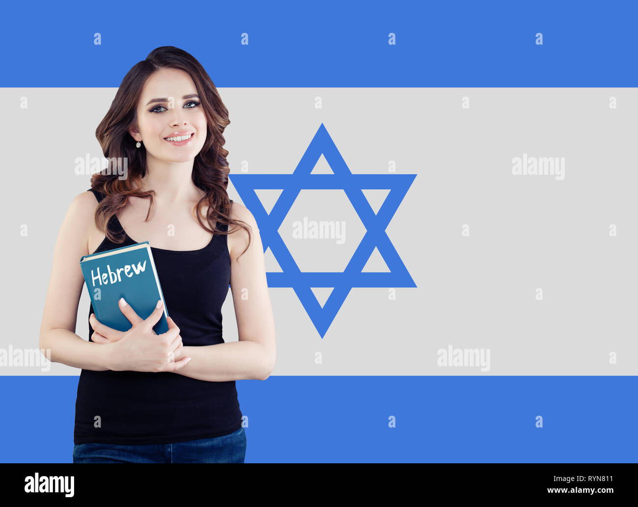 Hebrew language concept with happy woman student and the Israel flag - Stock Image