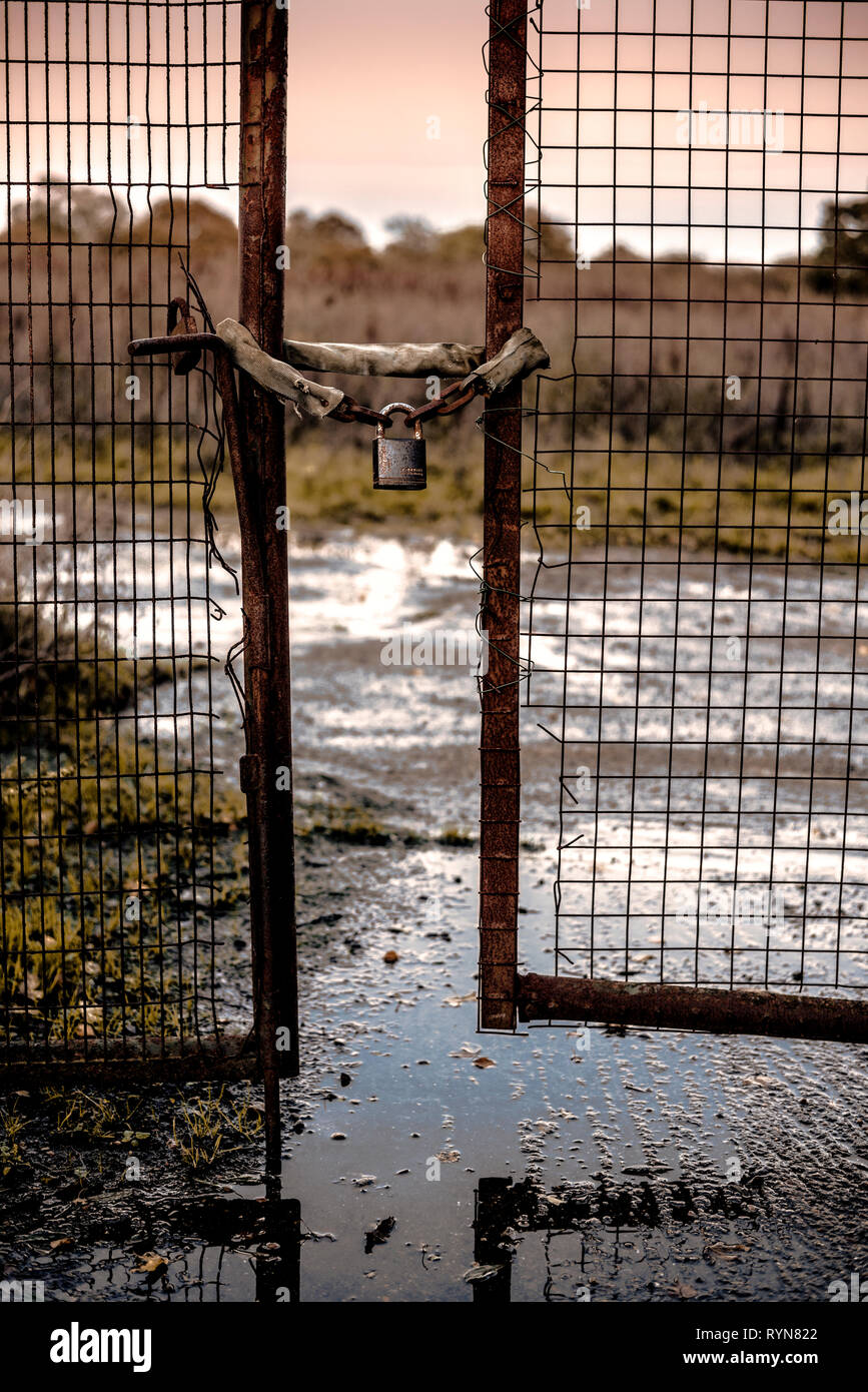 Rusty, neglected gates by industrial site, locked with padlock and chain, in gloomy setting - Stock Image