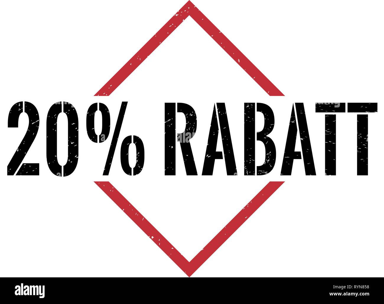 20 prozent rabatt red black triangle grungy rubber stamp - Stock Vector