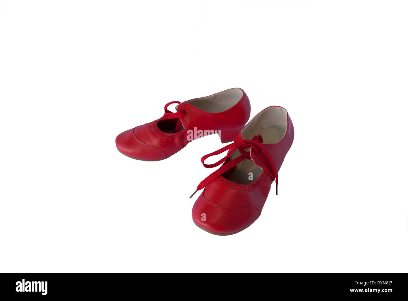 820e0a766b08 Red leather pair of shoes for female dancer. Traditional retro style  footwear