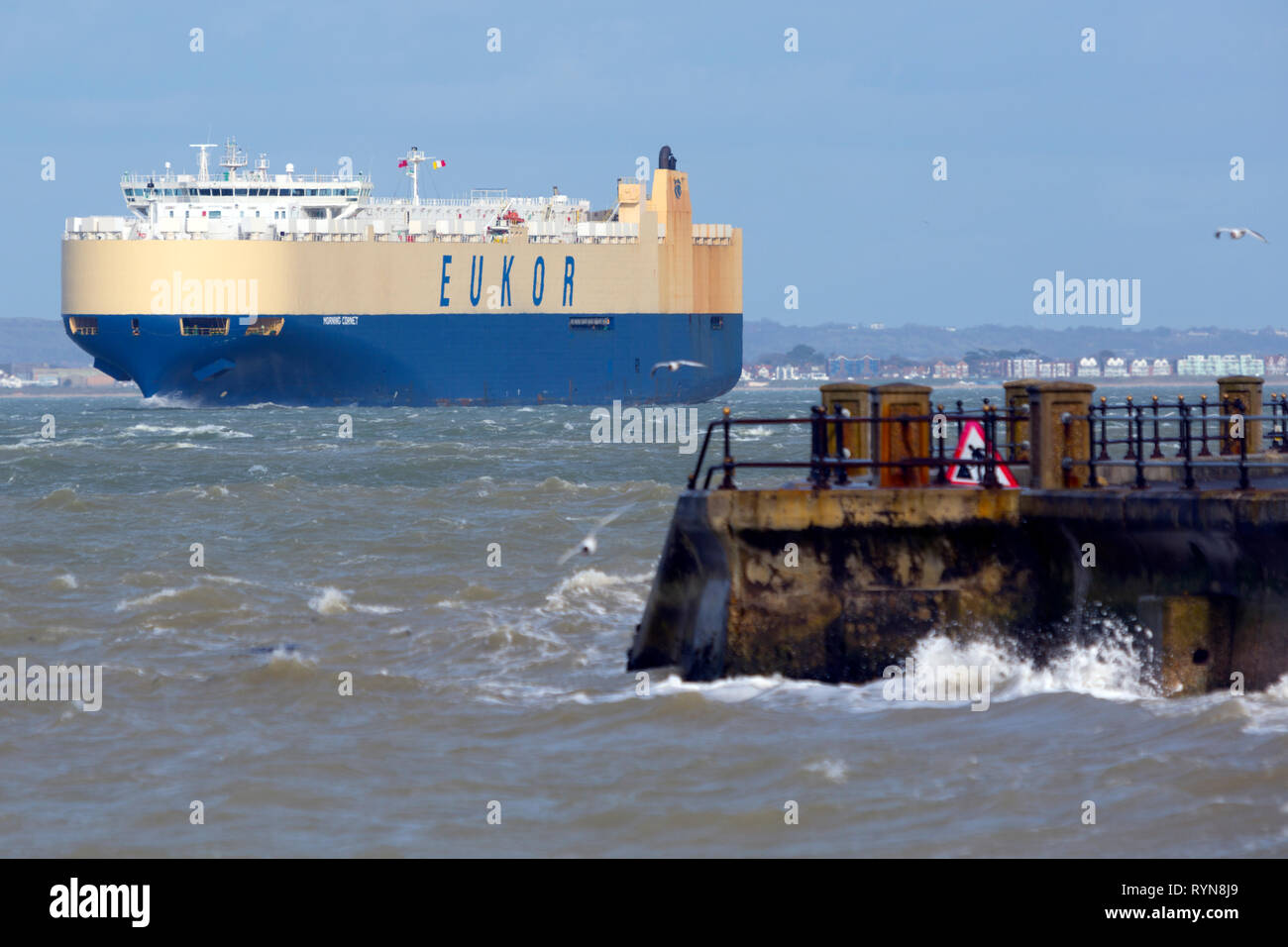 Car Carrier, Morning Cornet, reistered, Monrovia, The Solent, Fawley,Oil,Refinery, Southampton, Cowes, Isle of Wight, Hampshire, England, UK, - Stock Image