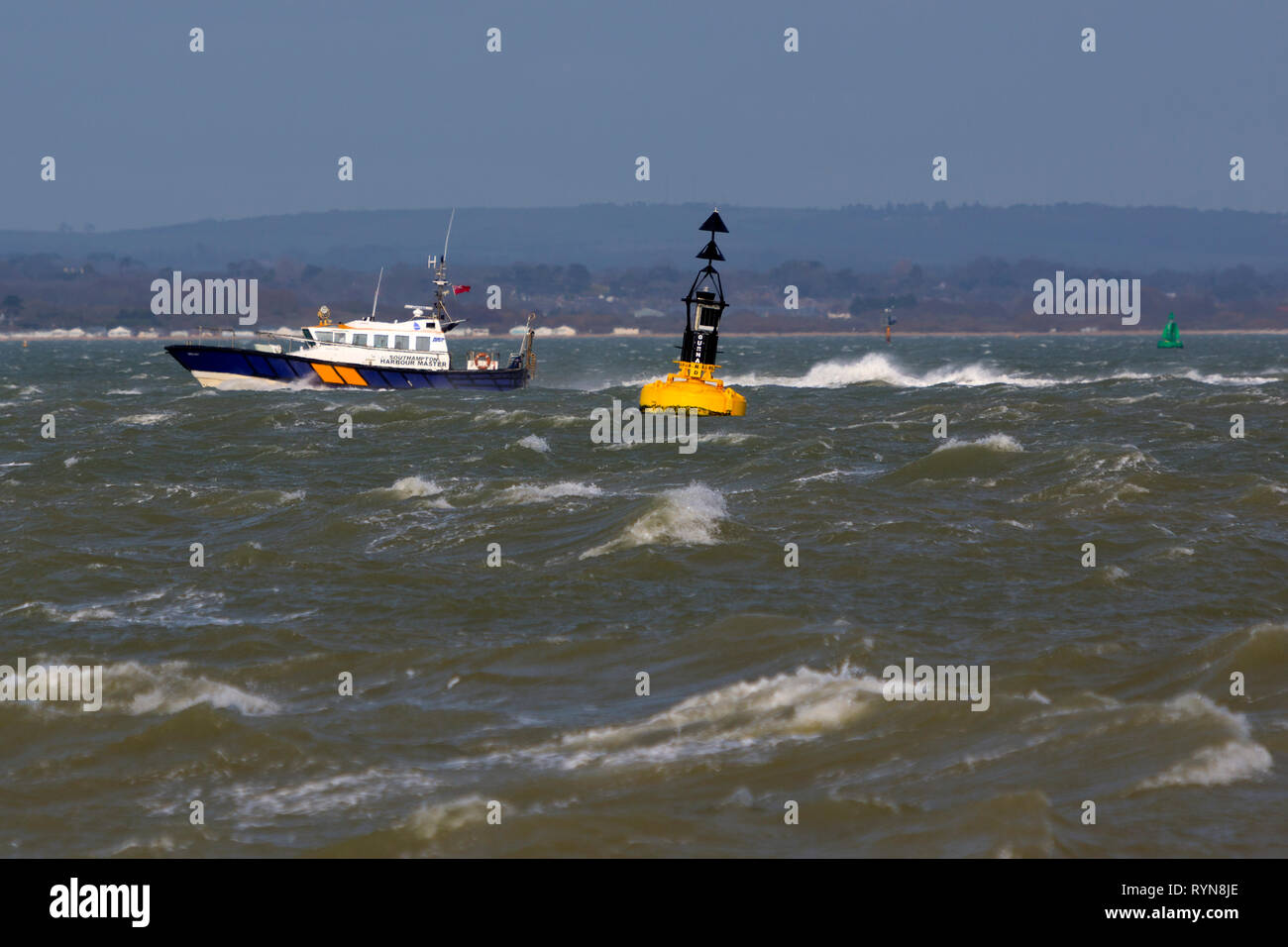 Southampton,Harbour Master, Launch,port,,patrol,boat,service,pilots,escort,safety,authority,navigation,channels,The Solent,Isle of Wight,Hampshire - Stock Image