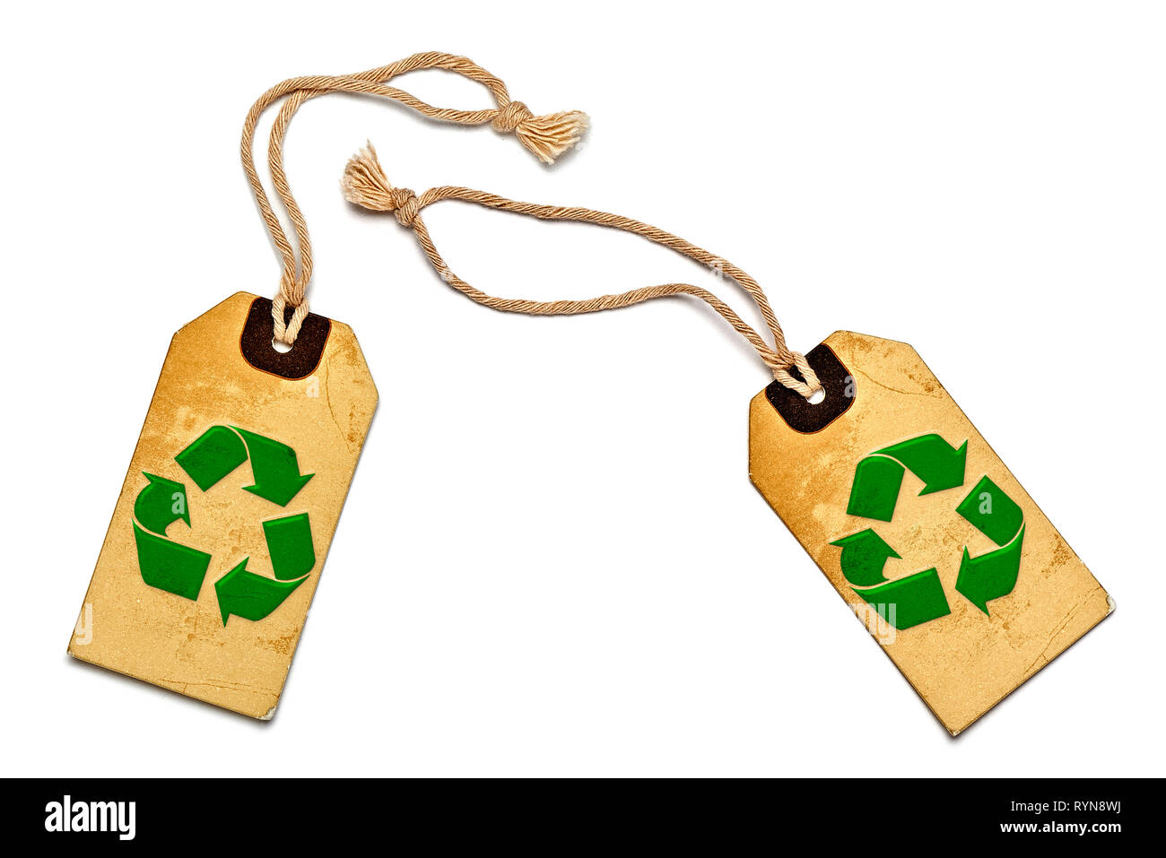 Two natural label tags isolated on white background - Stock Image