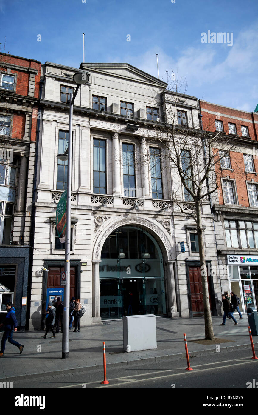Bank of Ireland building on 6-7 OConnell street formerly the Hibernian Bank and the Grand Central Cinema Dublin Republic of Ireland Europe Stock Photo