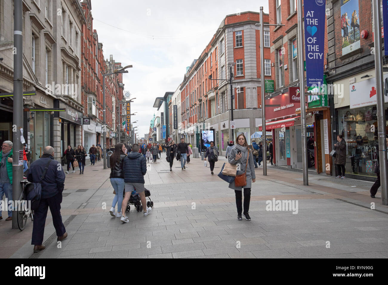 Looking along Henry street from the city centre Dublin Republic of Ireland Europe - Stock Image