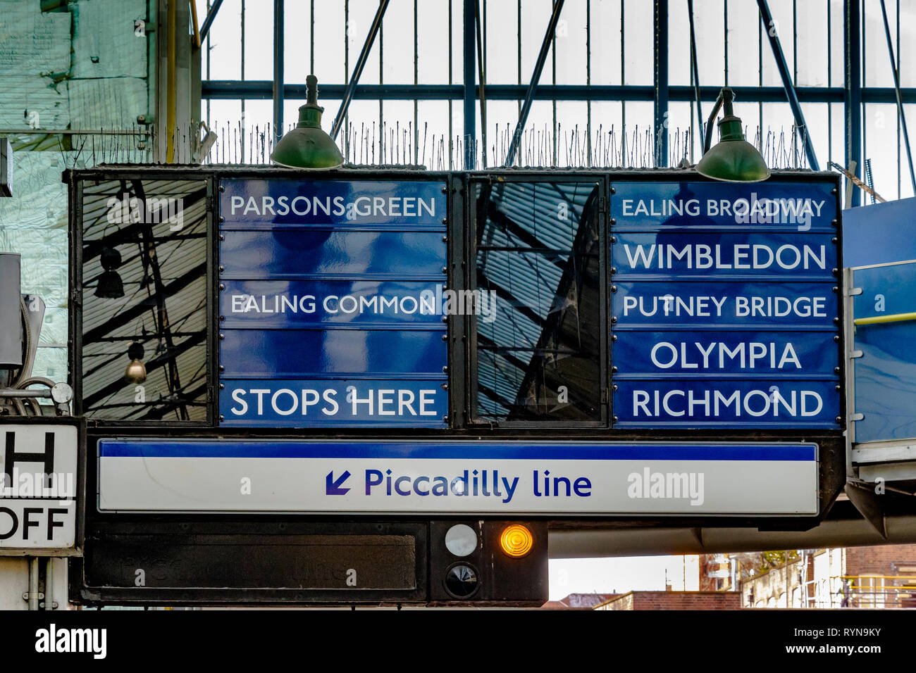 Tain indicator boards at Earls Court Underground Station , SW London - Stock Image