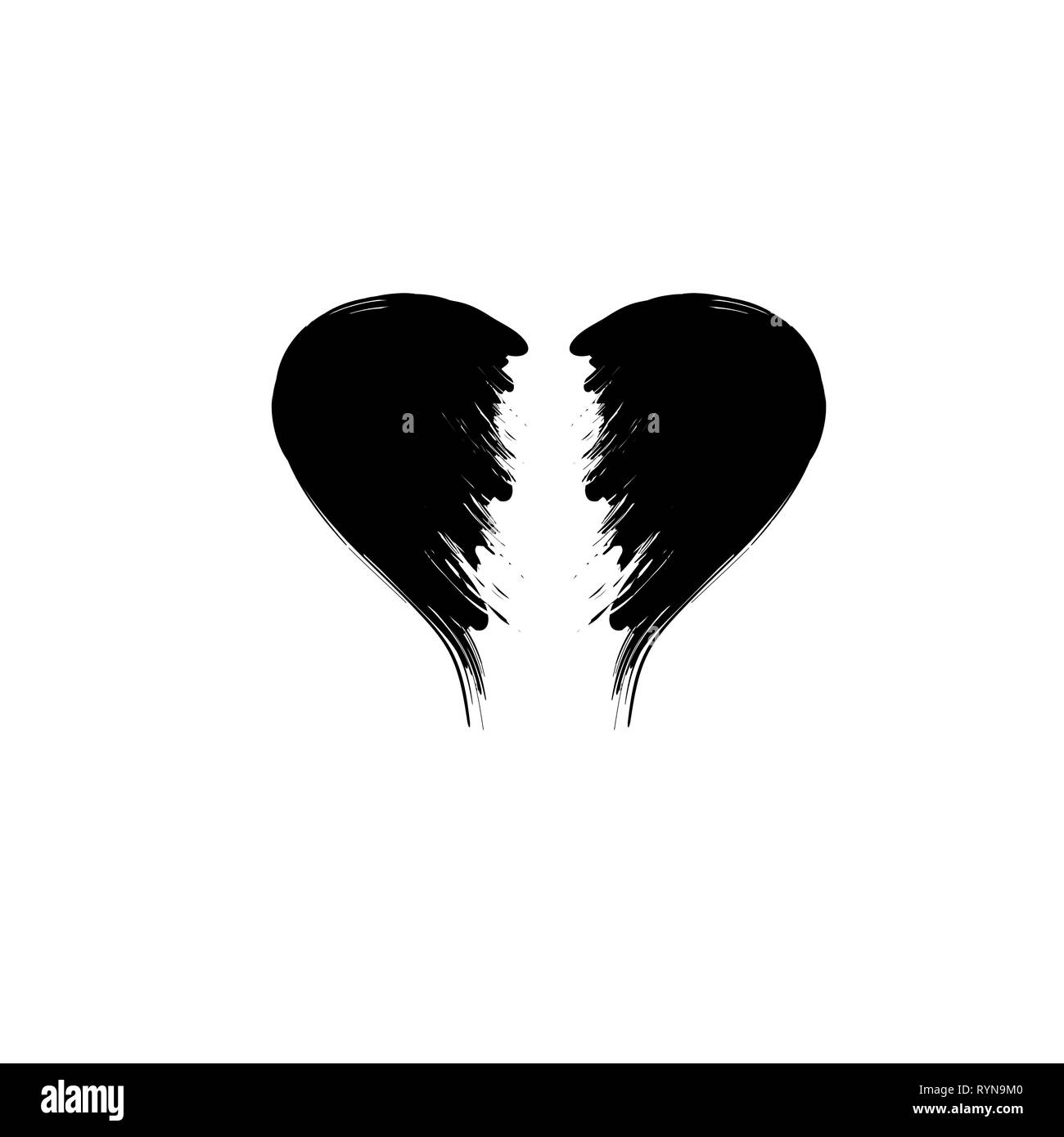 broken heart grunge black silhouette isolated on white background RYN9M0
