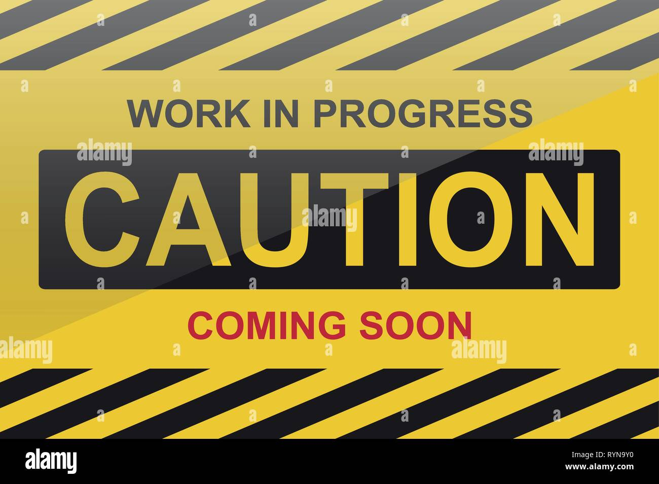 Caution, work in progress sign, with text coming soon - Stock Vector