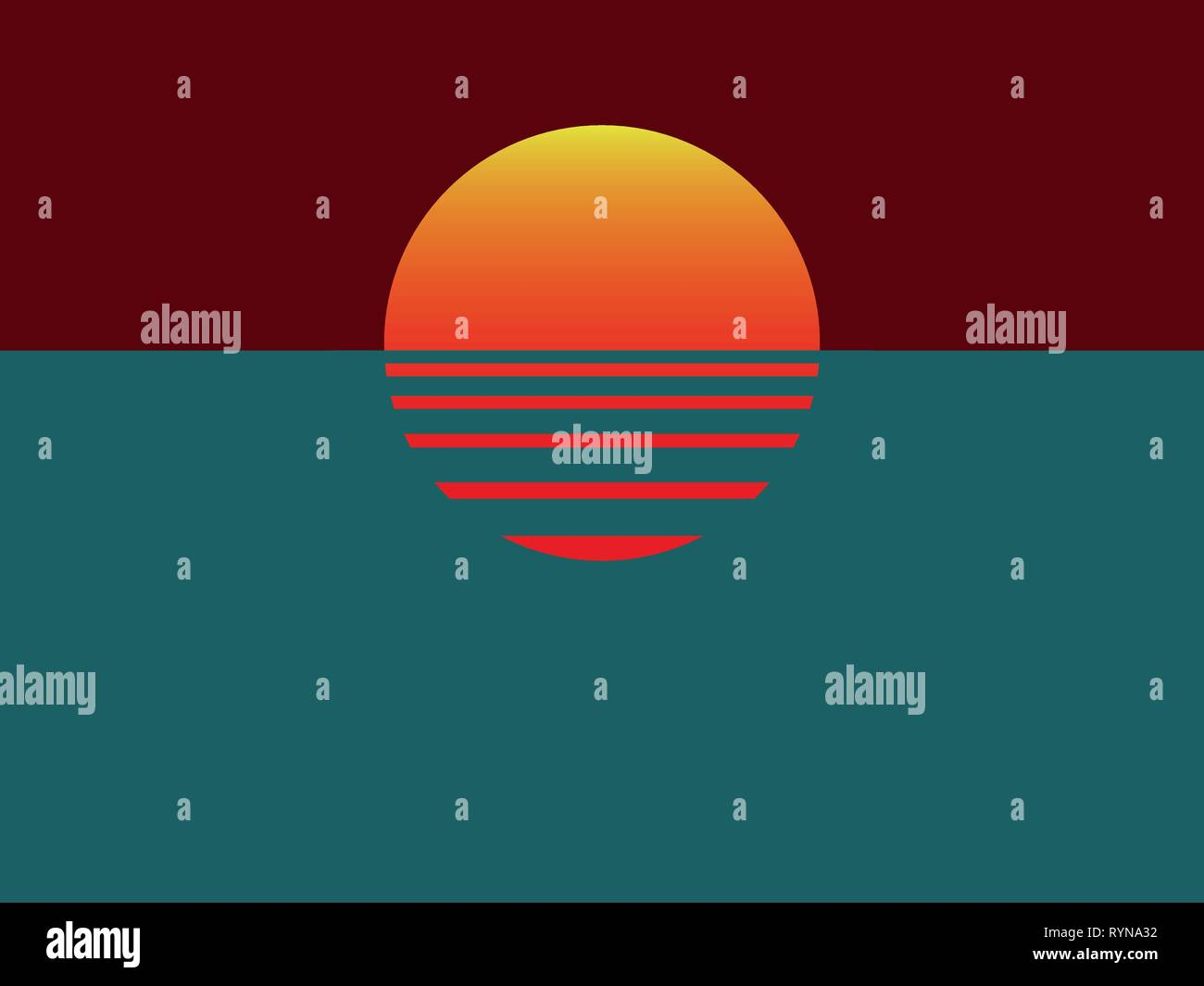 Minimalistic vector illustration with sunset and water - Stock Vector