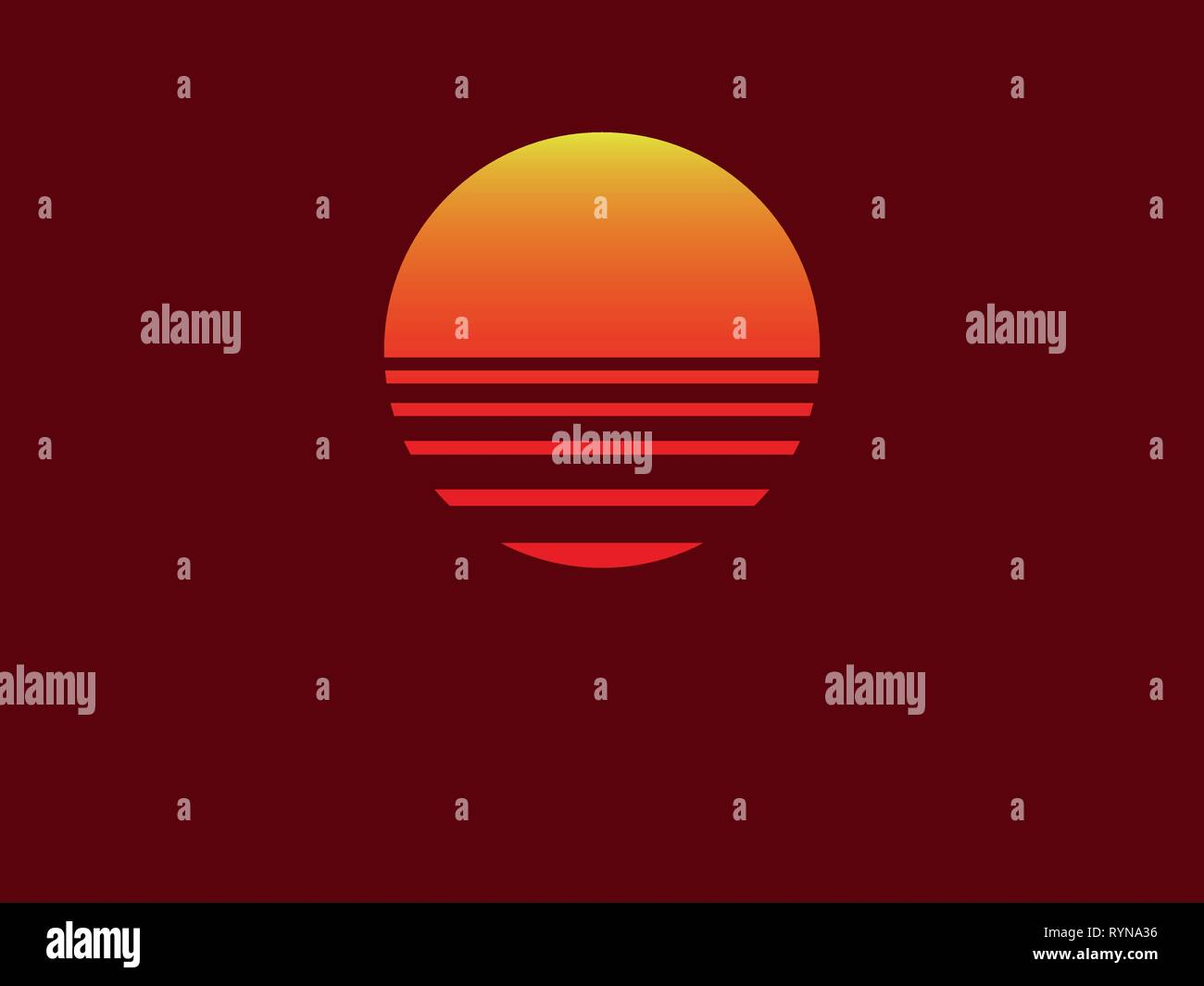Minimalistic vector illustration with sunset and red background - Stock Vector