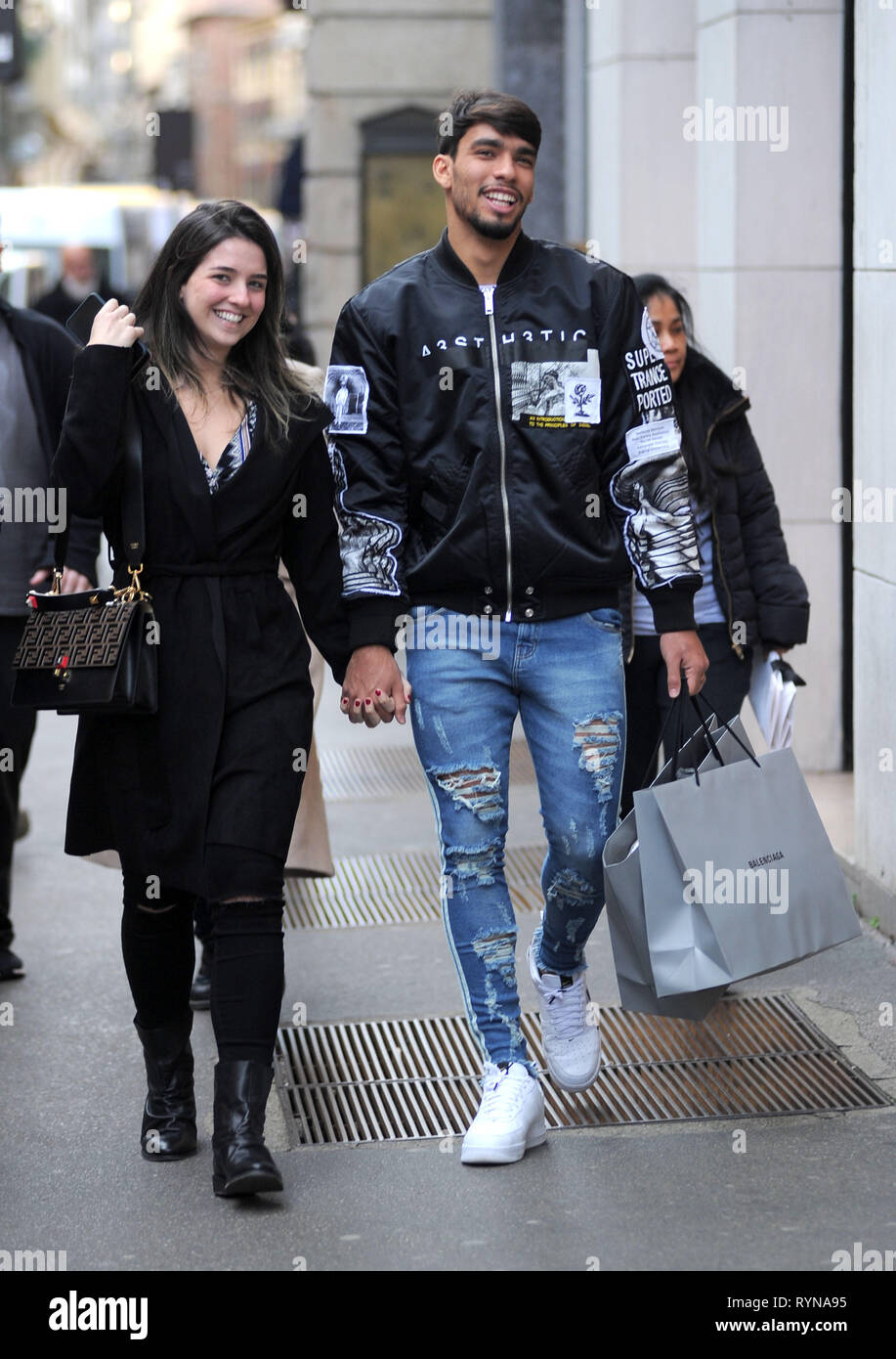 19f3a0950f AC Milan and Brazilian football player Lucas Paqueta and his wife Maria  Eduarda Fournier shopping in