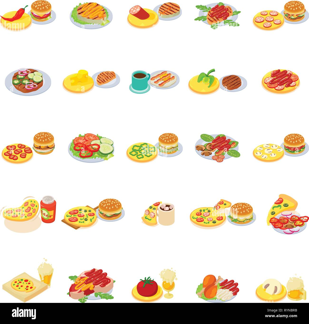 Fast Food Icons Set Isometric Style Stock Vector Art