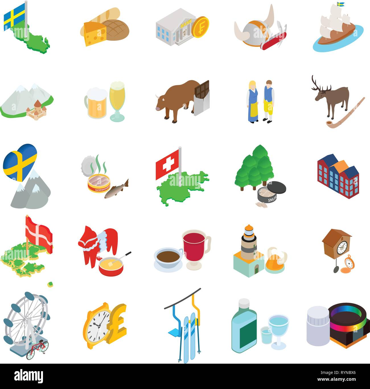 Baltic country icons set, isometric style - Stock Vector