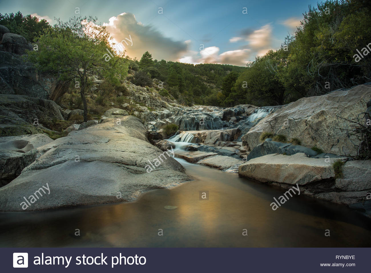 Rapids of the Manzanares river in Madrid,Spain Stock Photo