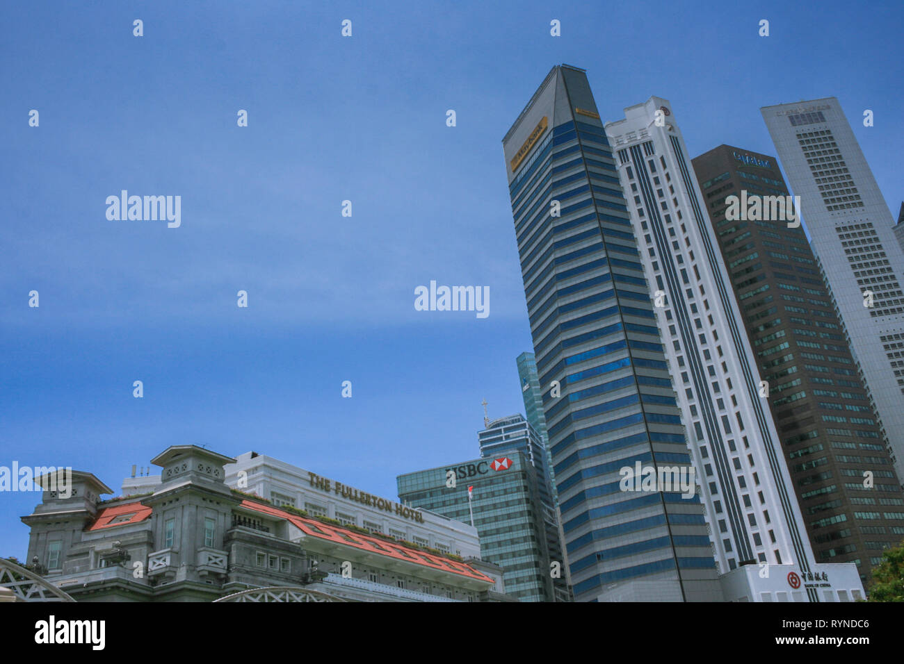 View towards Raffles Place from Anderson Bridge, Boat Quay, Singapore Stock Photo