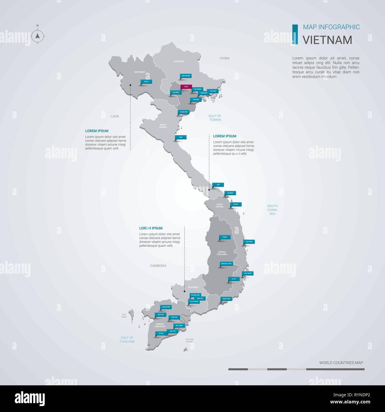 Vietnam vector map with infographic elements, pointer marks ...