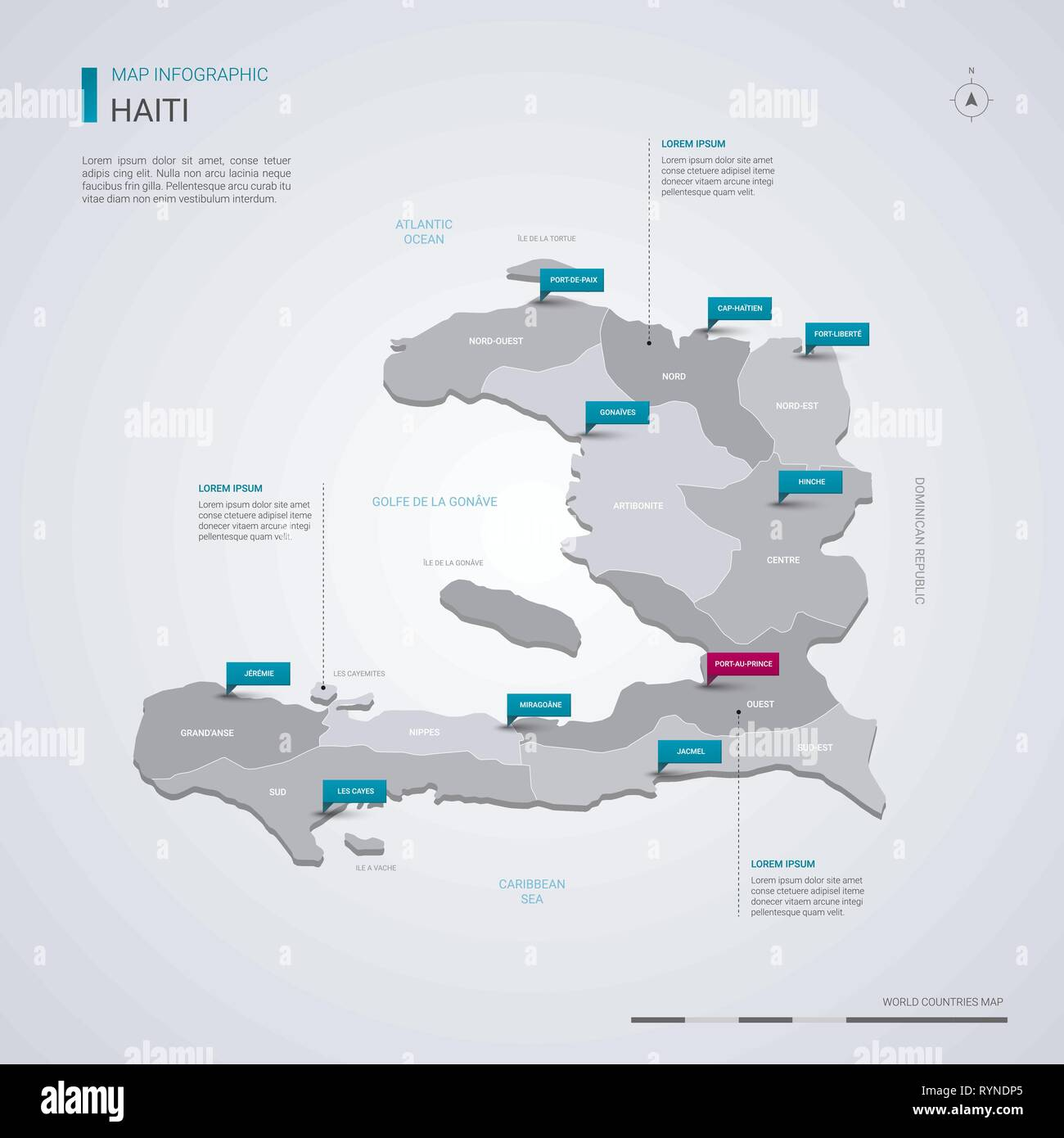Haiti vector map with infographic elements, pointer marks. Editable ...
