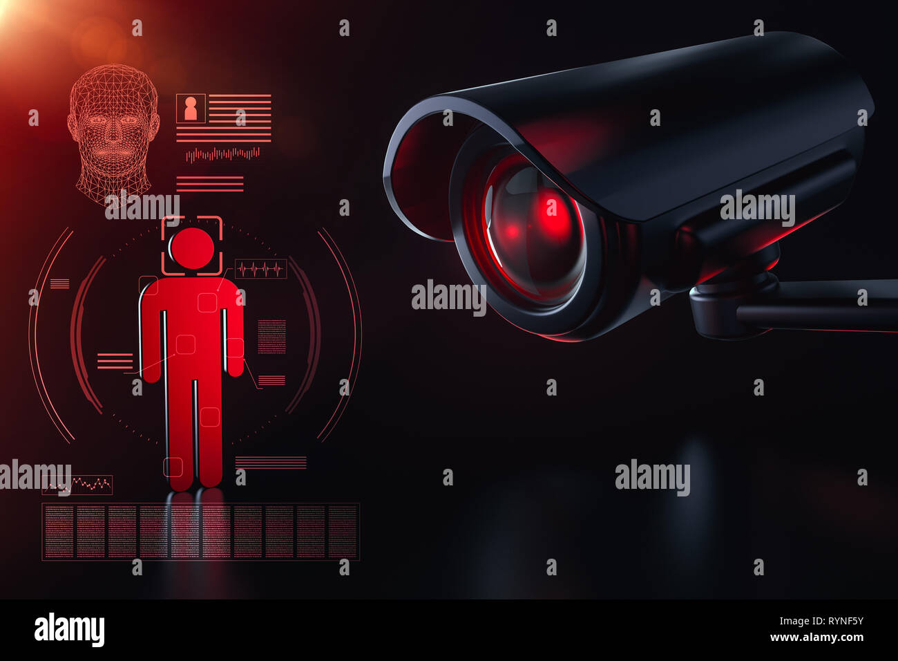 Cctv is checking information about citizen in surveillance security system concept. Big brother is watching you concept. 3D rendering - Stock Image