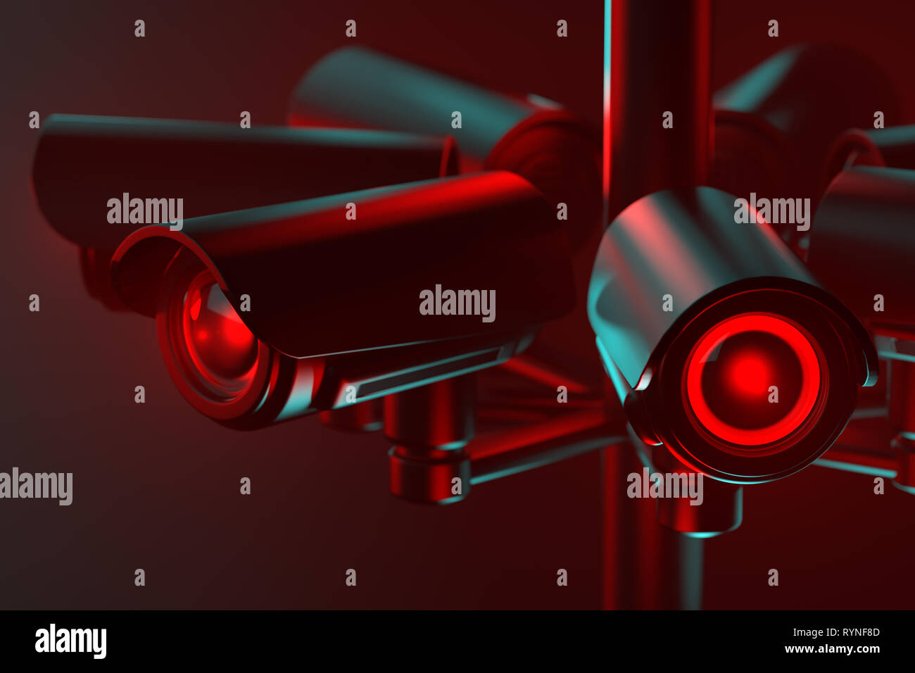 Close up on cctv lens as a metaphor of society controlled with surveillance system. 3D rendering - Stock Image