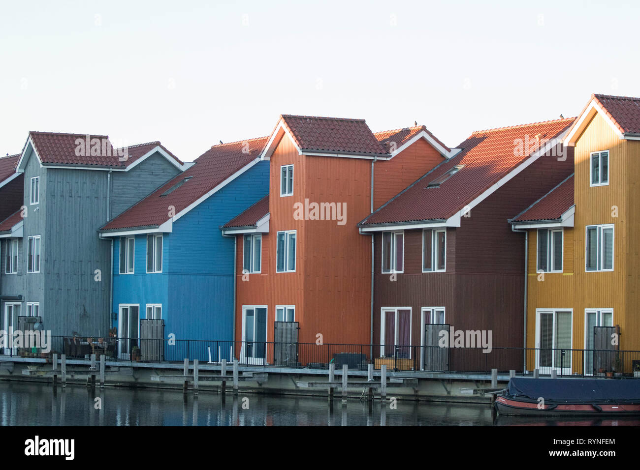 Colourful Waterfront Houses At The Reitdiephaven Reitdiep Marina