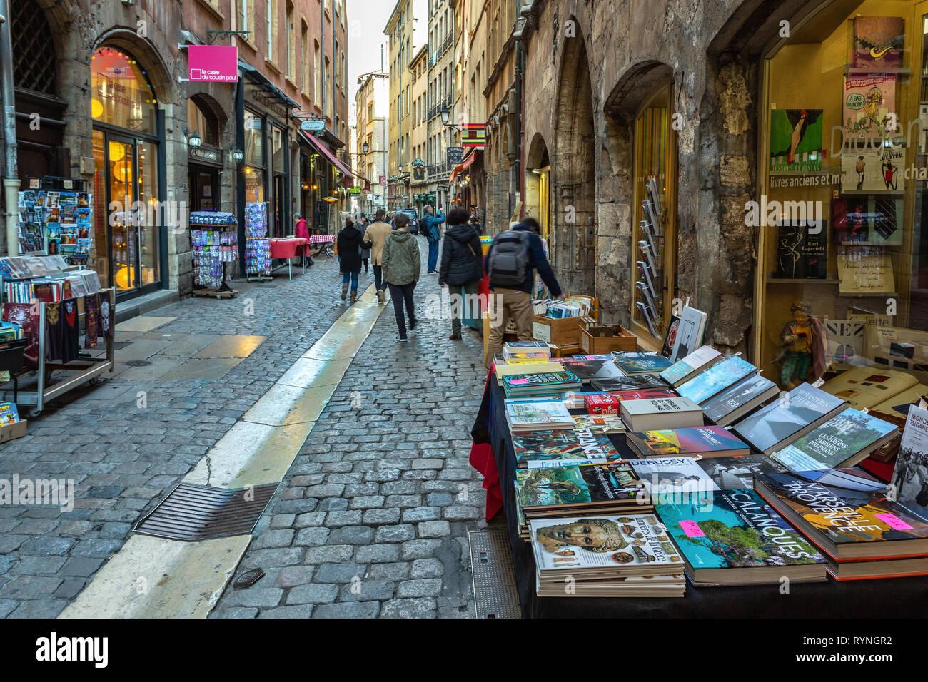 bookseller in Saint John Street, Lyon - Stock Image