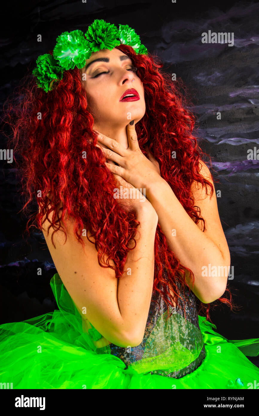 Model modeling St. Patrick's Day outfit. - Stock Image