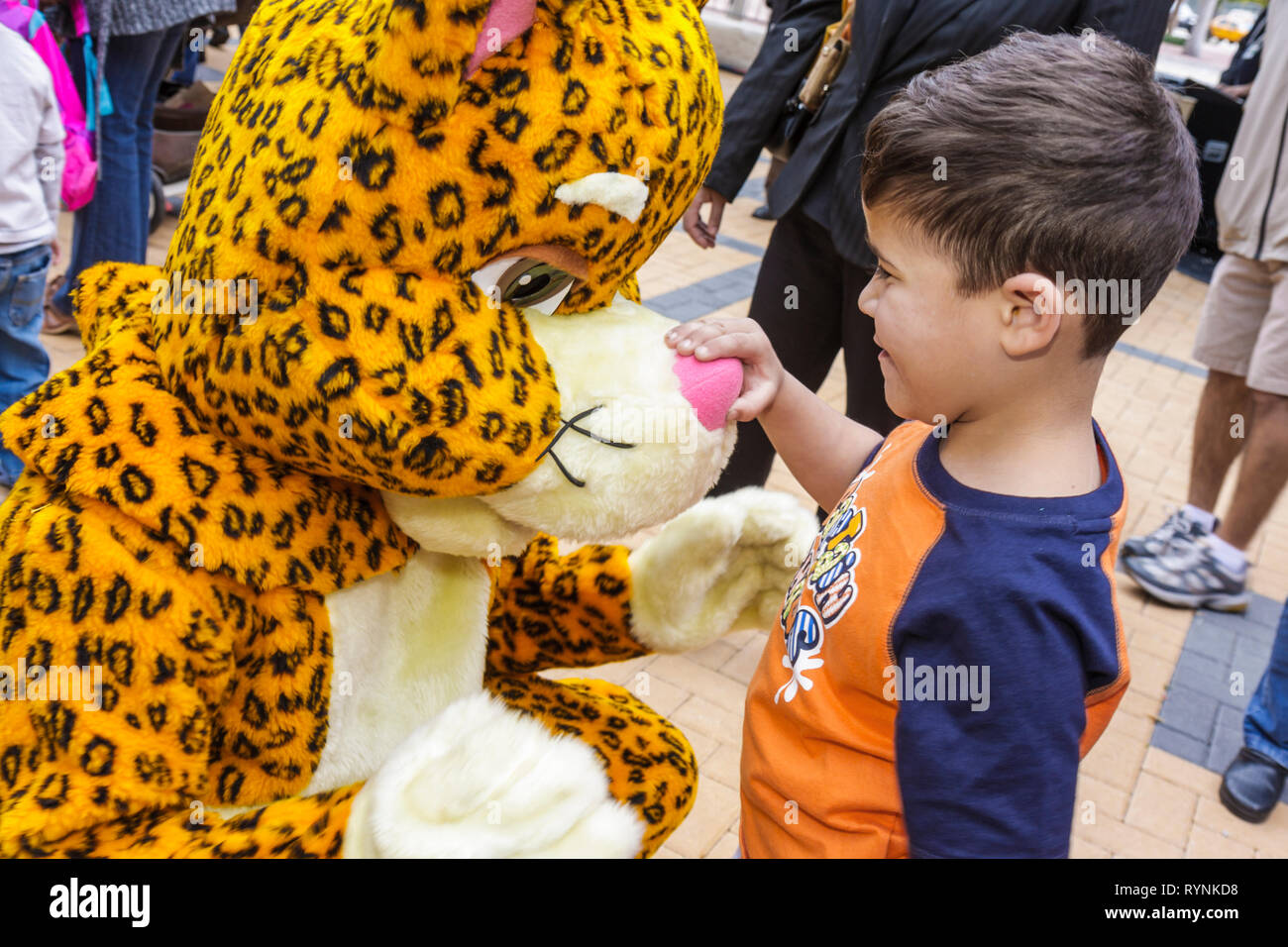 Miami Florida Adrienne Arsht Center for Performing Arts Free Family Fest festival literary character leopard costume boy child i - Stock Image