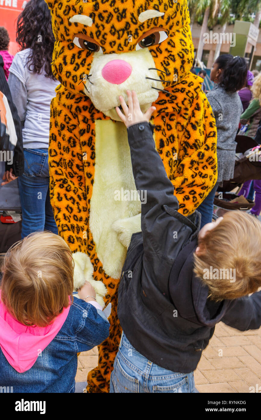 Miami Florida Adrienne Arsht Center for Performing Arts Free Family Fest festival literary character leopard costume boy boys ch - Stock Image